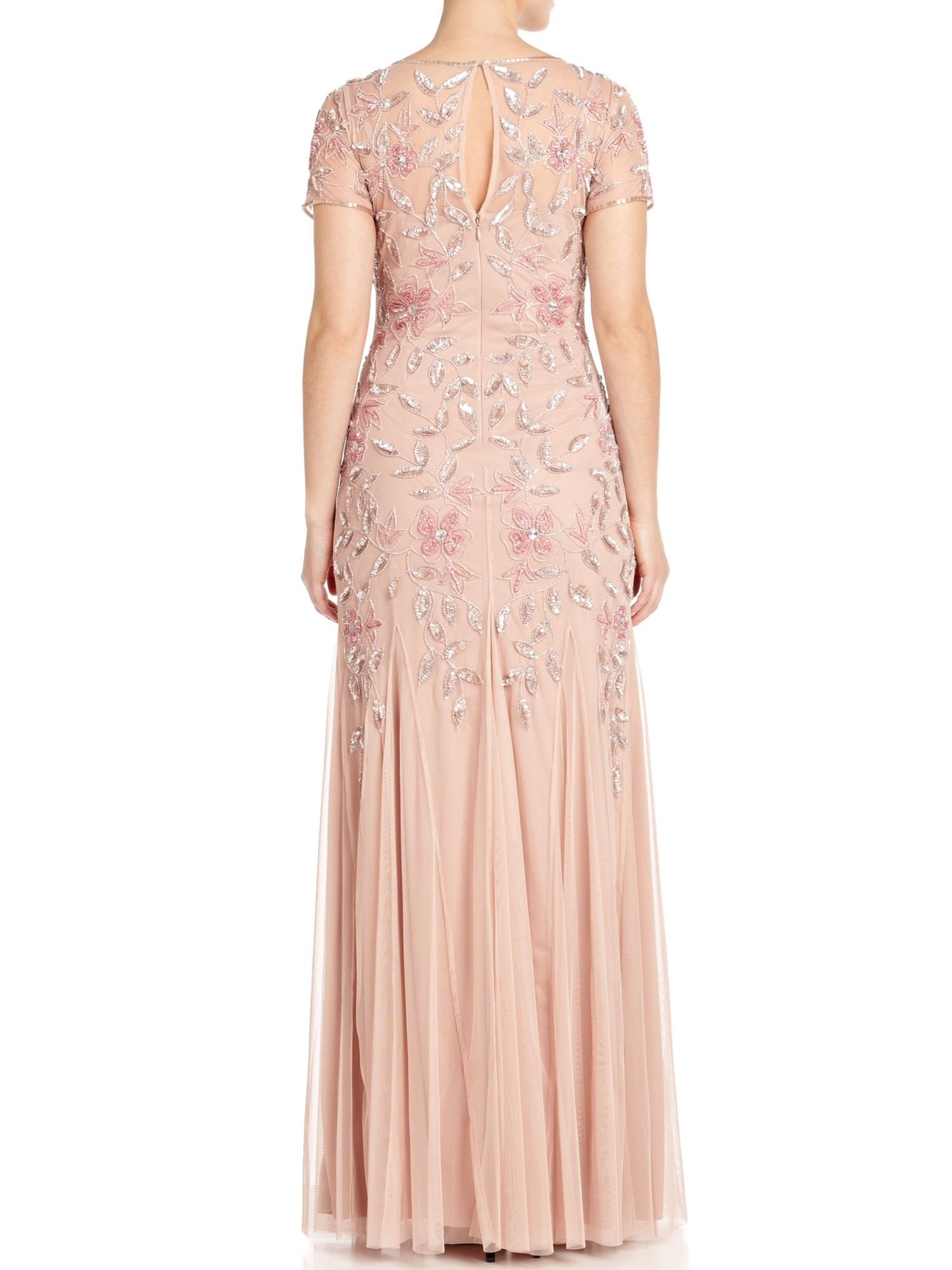 Adrianna Papell Floral Beaded Godet Gown In Natural Lyst