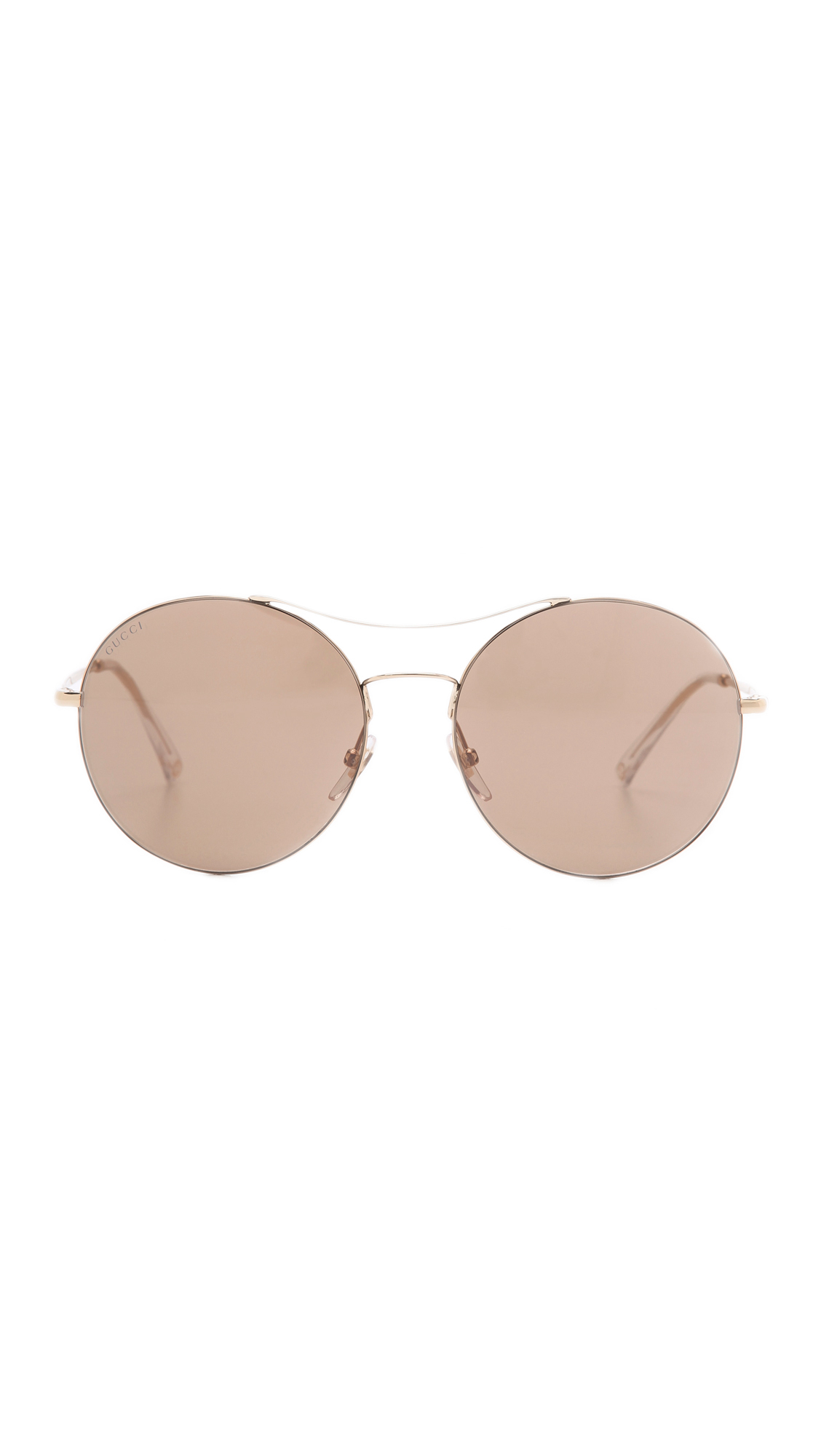 1bc2e7e5e5 Gucci Round Aviator Sunglasses - Gold Brown Mirror in Metallic - Lyst