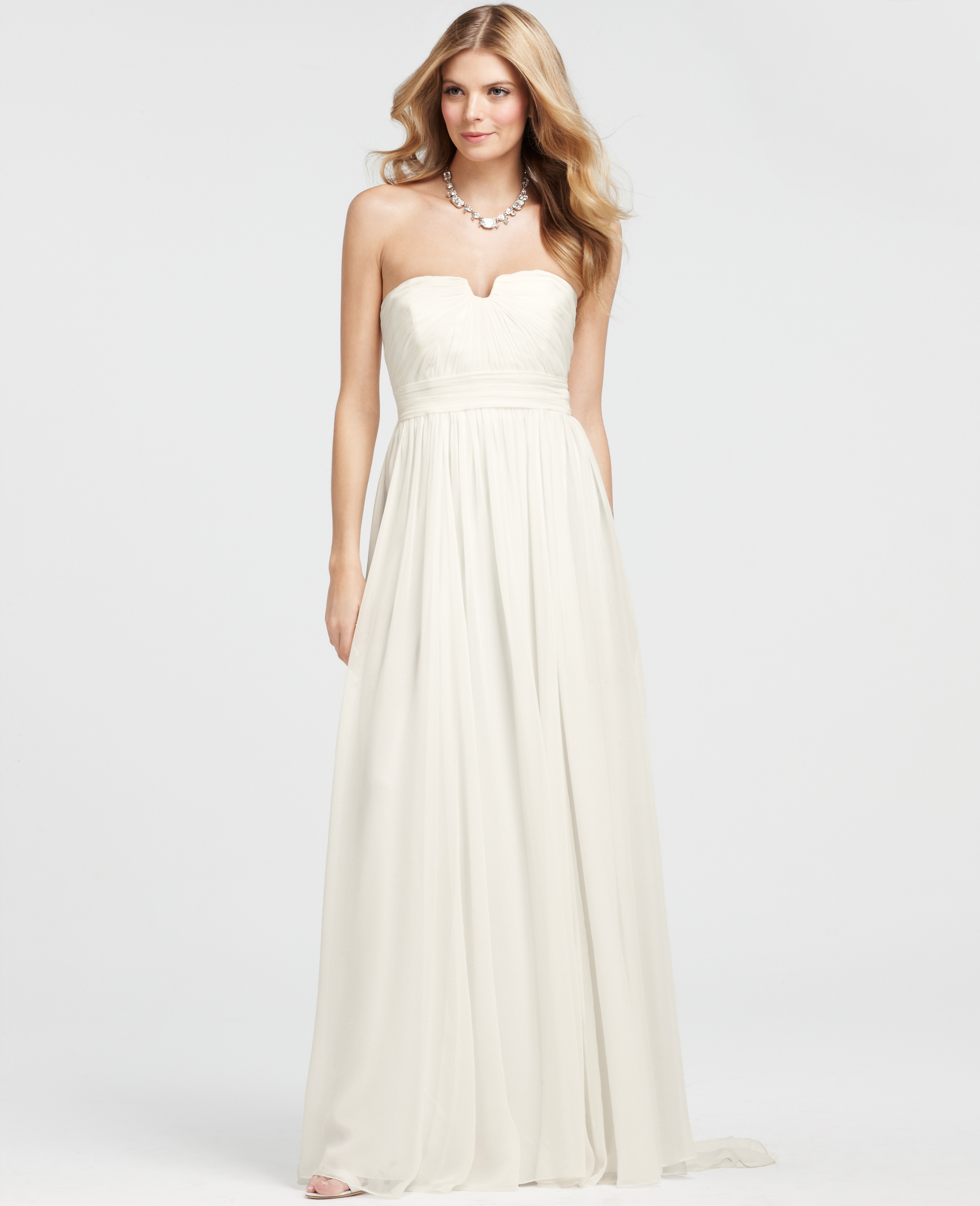 ann taylor vintage silk strapless wedding dress in white