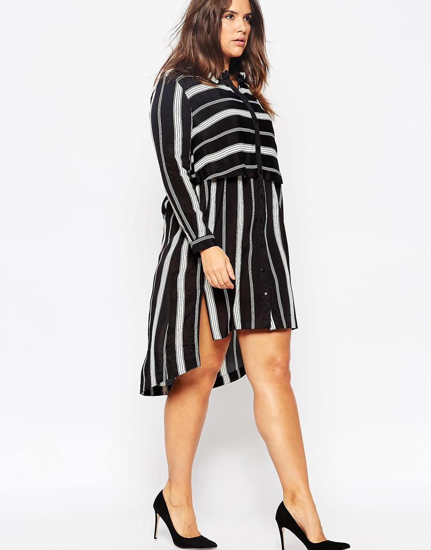 9c912bf772 Lyst - ASOS Curve Shirt Dress In Mixed Stripe in Black
