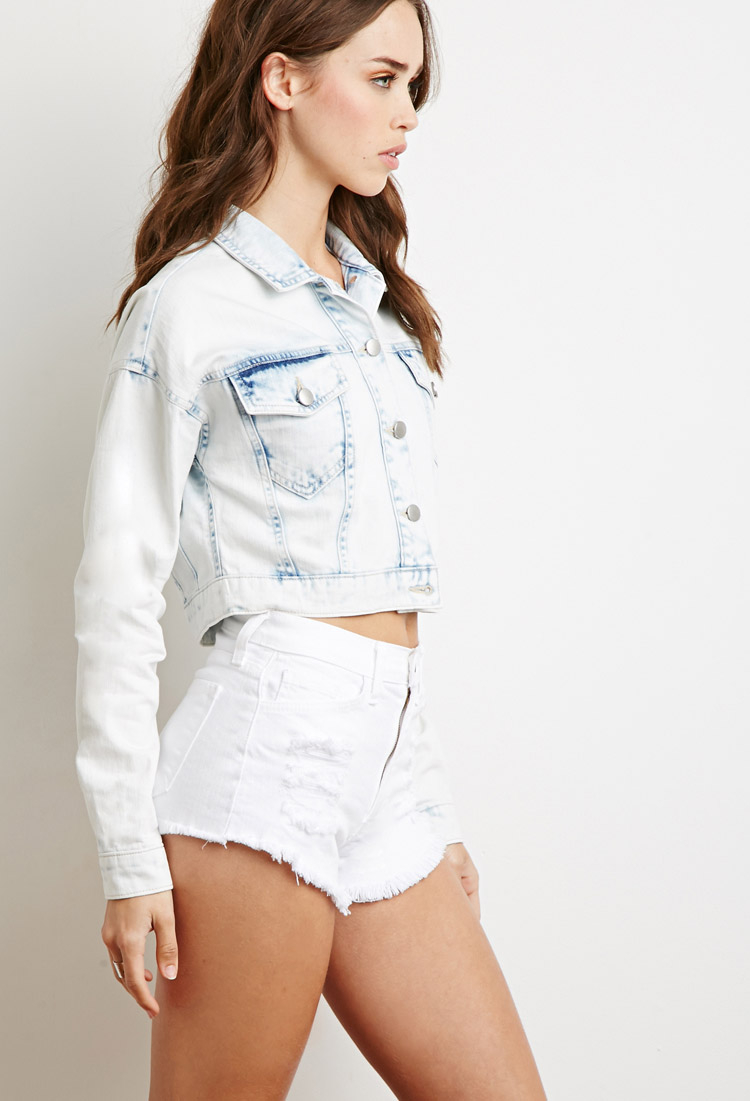 Forever 21 Cropped Denim Jacket in Blue | Lyst
