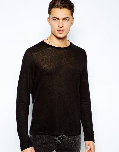 Asos long sleeve t shirt in sheer fabric in black for men for Mesh long sleeve t shirt