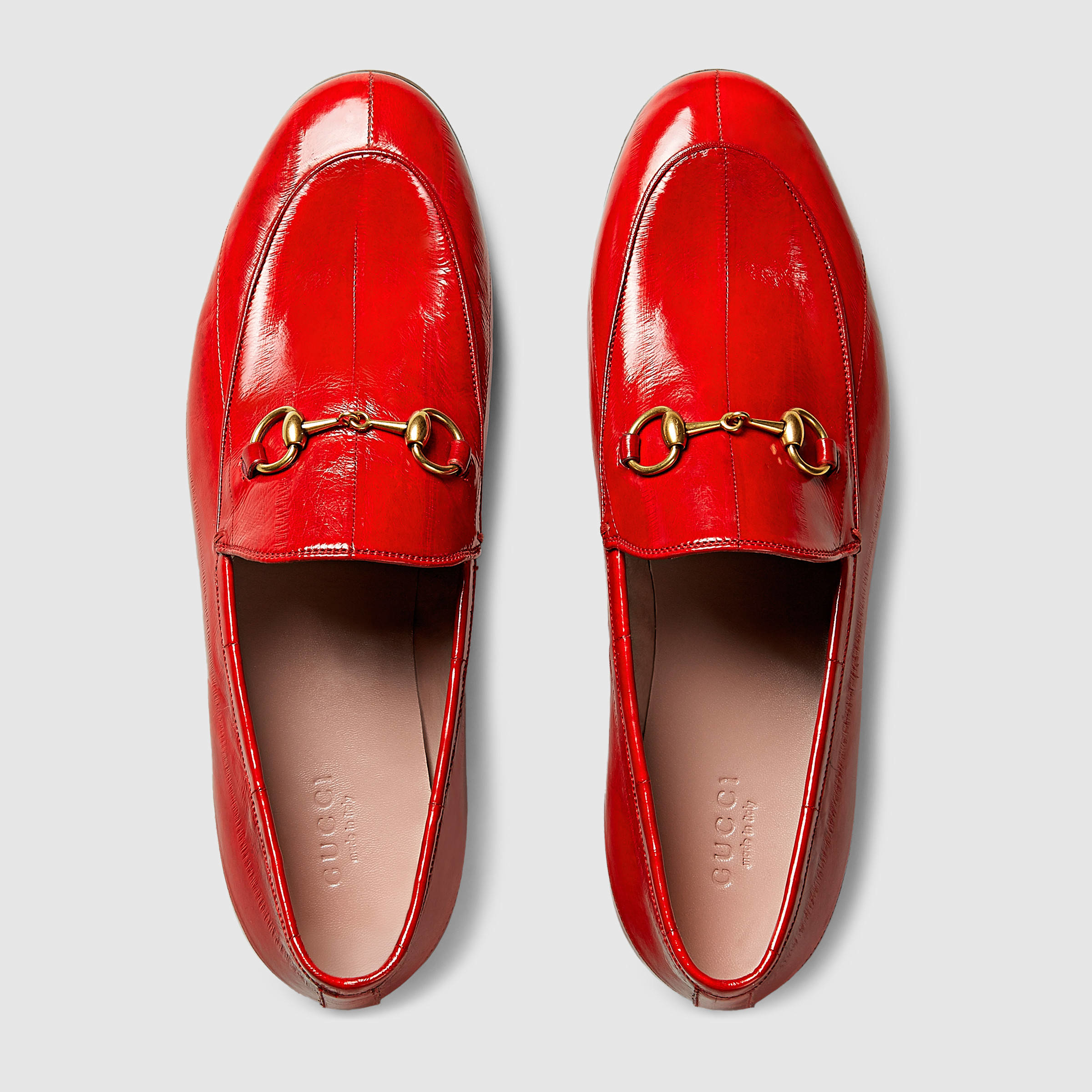 5c51cb9aed3 Gucci Jordaan Eel Horsebit Loafer in Red - Lyst