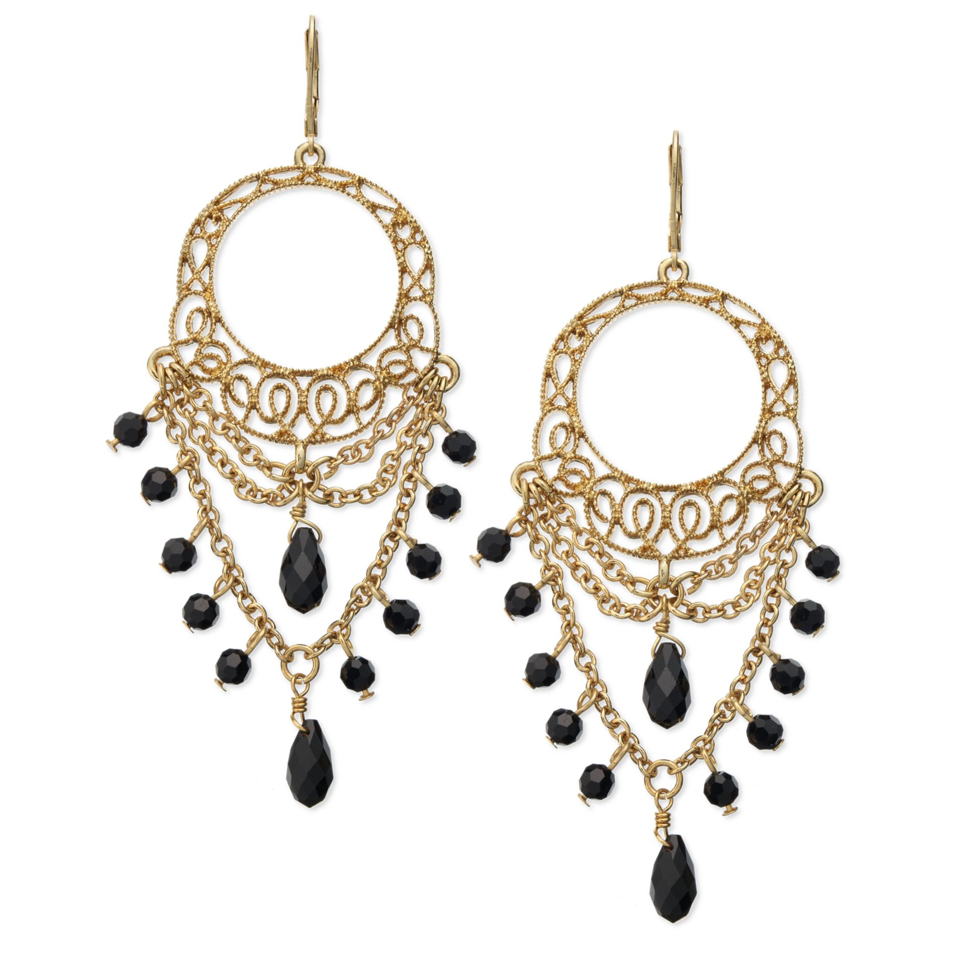 Lauren by ralph lauren Goldtone Openwork Lace and Jet Bead – Gold Tone Chandelier Earrings