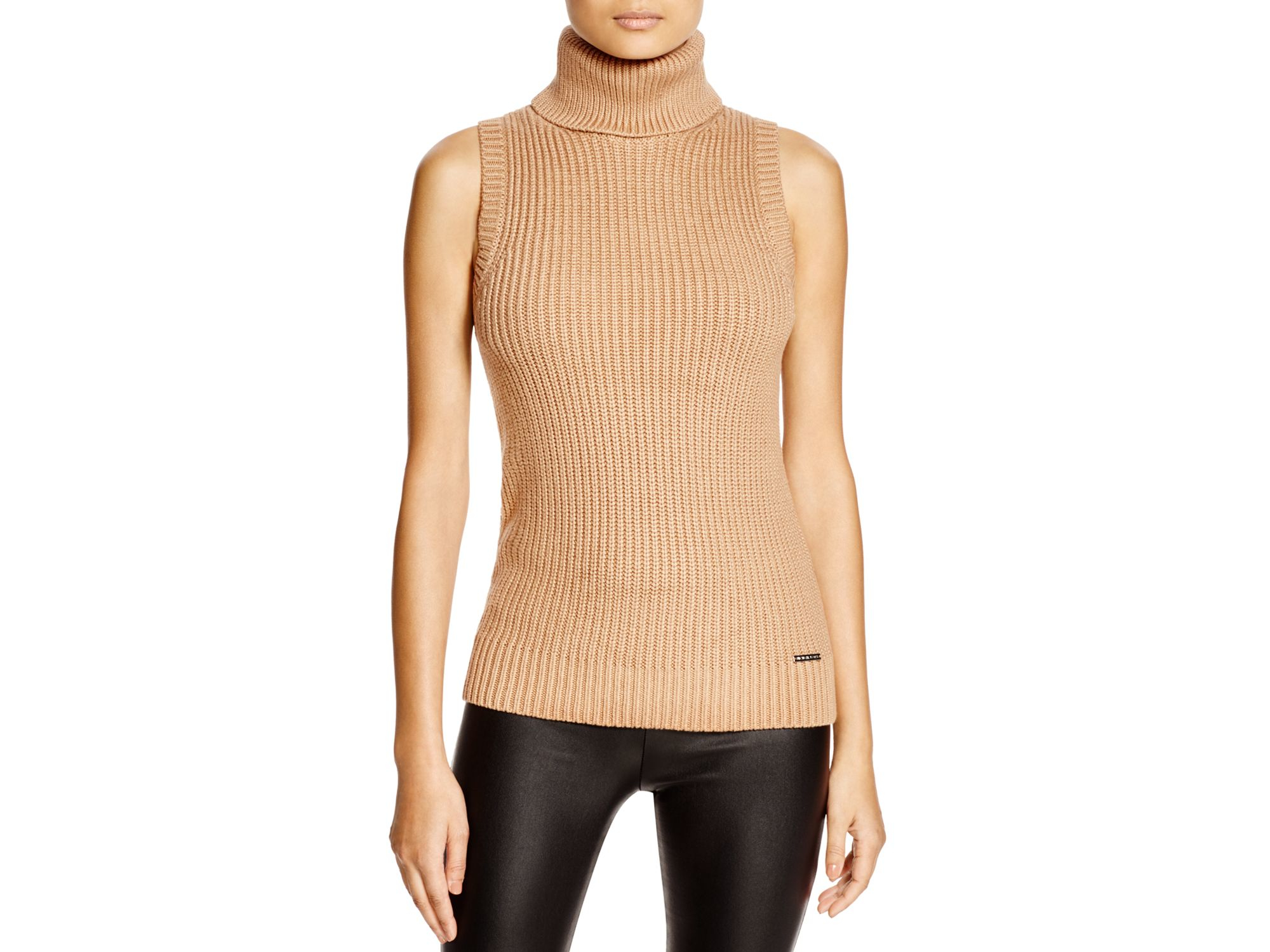 Michael michael kors Sleeveless Turtleneck Sweater in Natural | Lyst