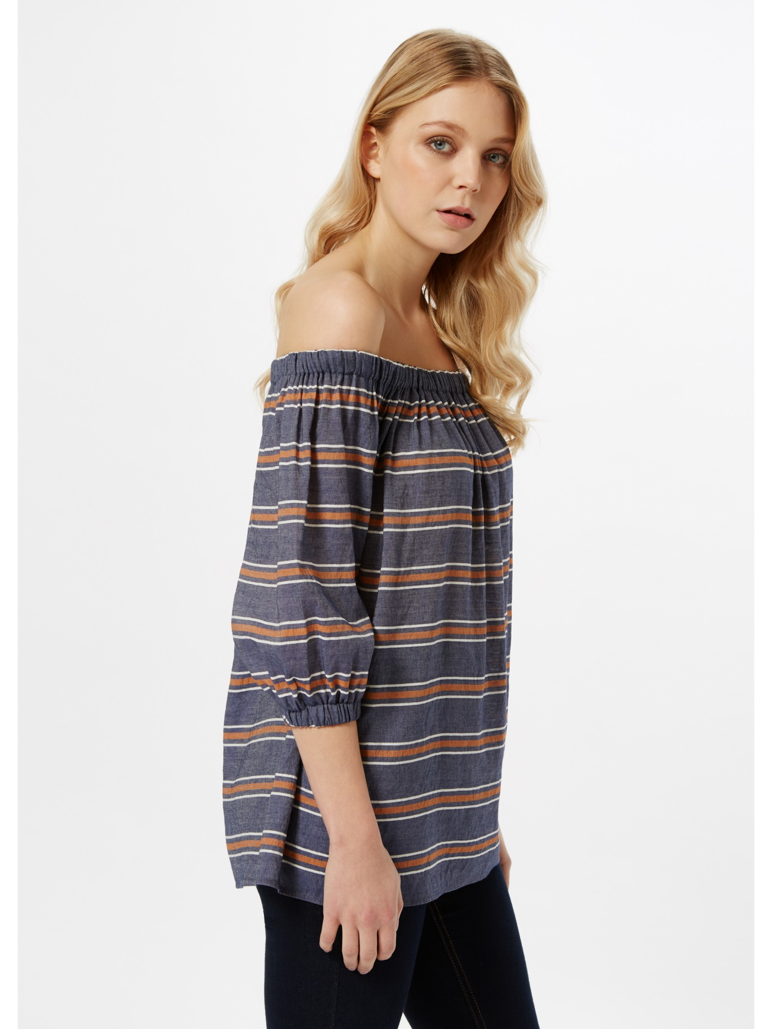 894bf0fcbeb389 Miss Selfridge Striped Bardot Top - Lyst
