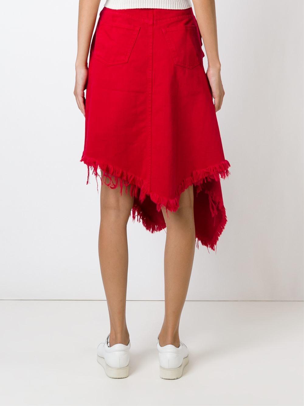 marques almeida frayed asymmetric denim skirt in lyst