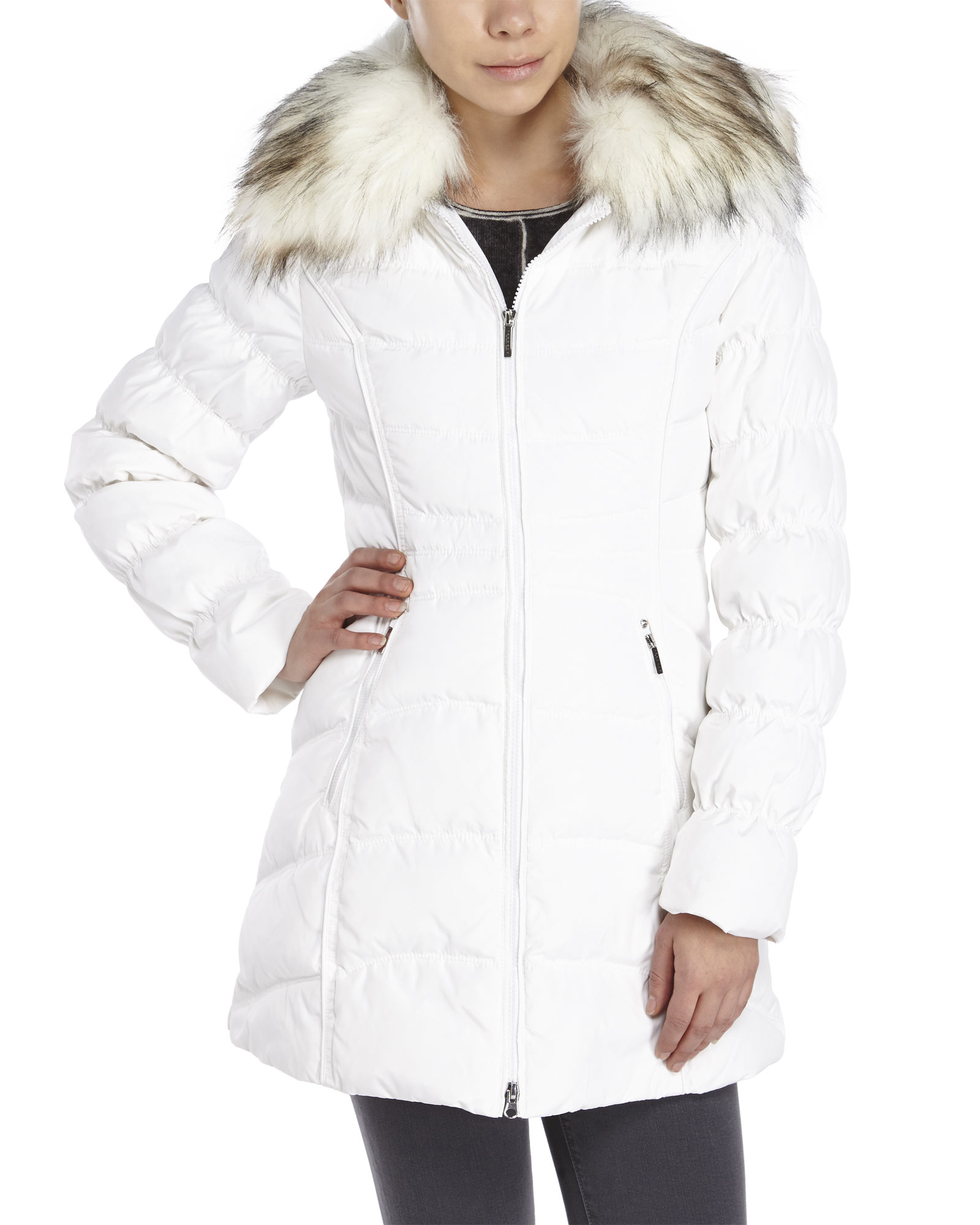Laundry by shelli segal Hooded Faux Fur Trim Down Coat in White | Lyst