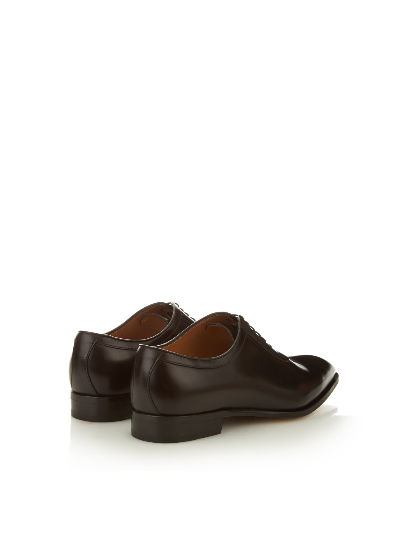 gucci broadwick lace up leather oxford shoes in black for