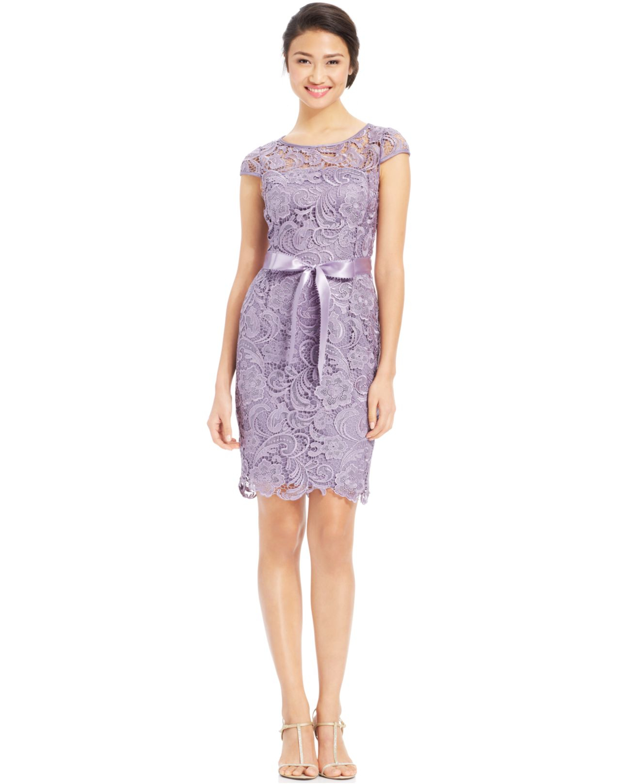 Lyst - Adrianna Papell Cap-Sleeve Illusion Lace Sheath in Purple