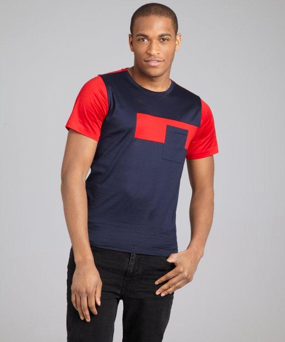 Lyst balenciaga navy red and grey color block crewneck for Balenciaga t shirt red