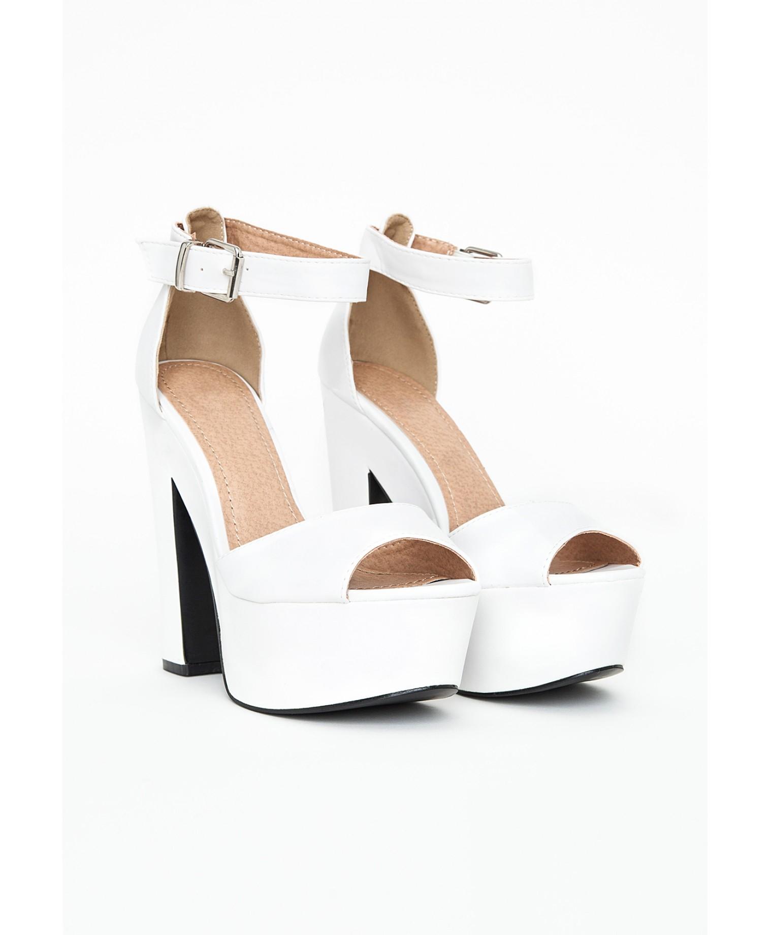 Missguided Alana Platform Block Heels In White in White | Lyst