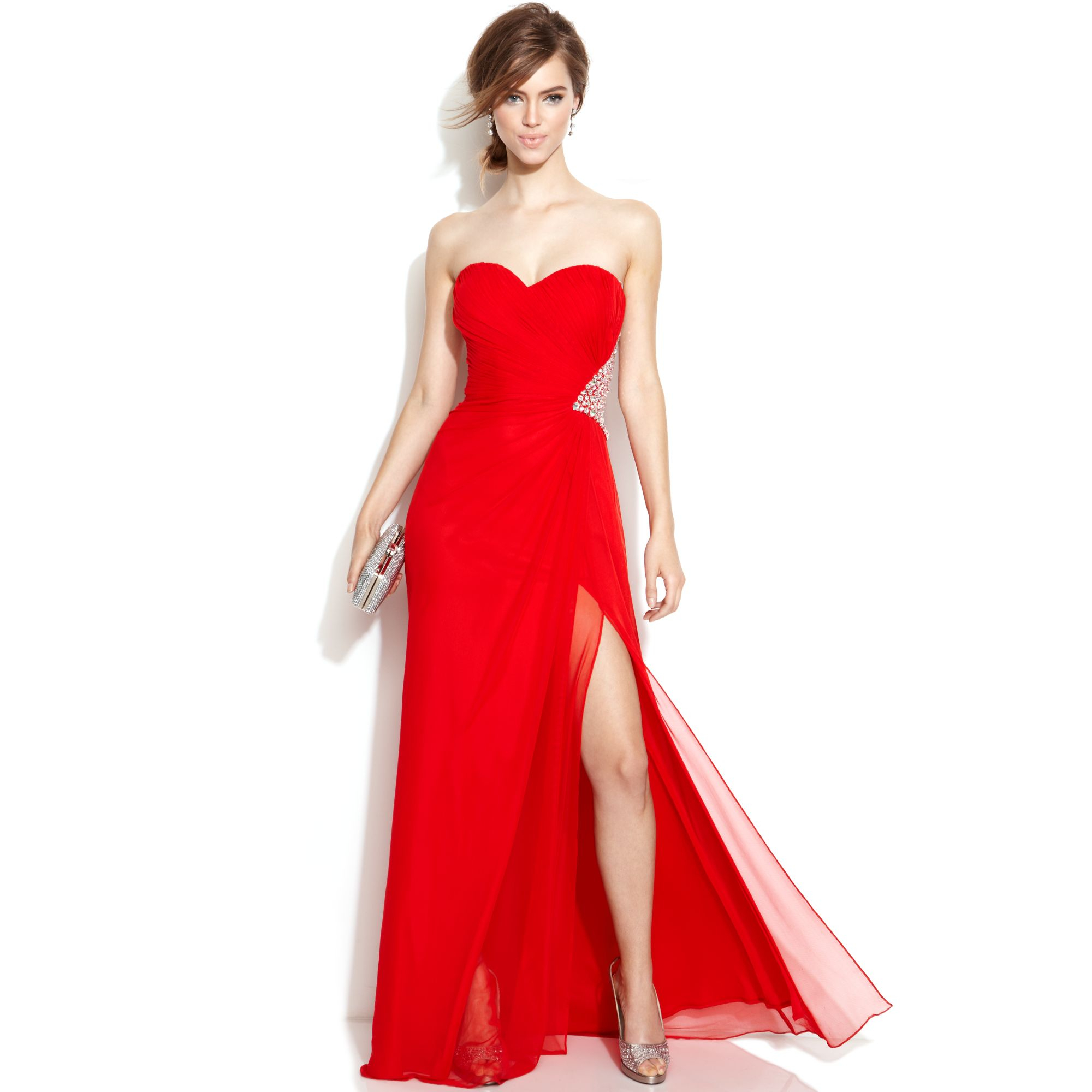Xscape strapless embellished cutout gown in red lyst for Macy black dress wear to wedding