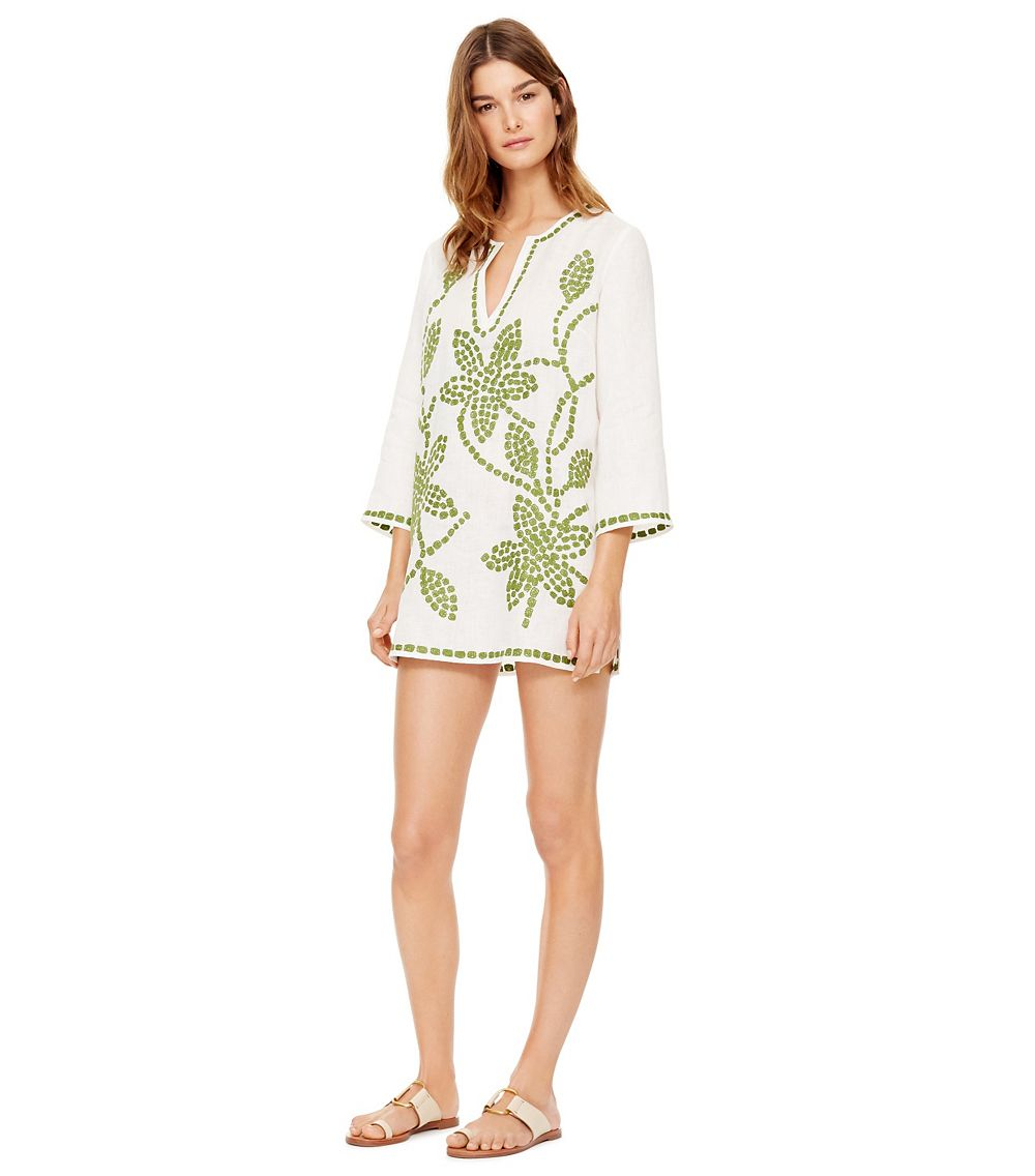 43c9243c80a585 Lyst - Tory Burch Embroidered Floral Linen Tunic in Green