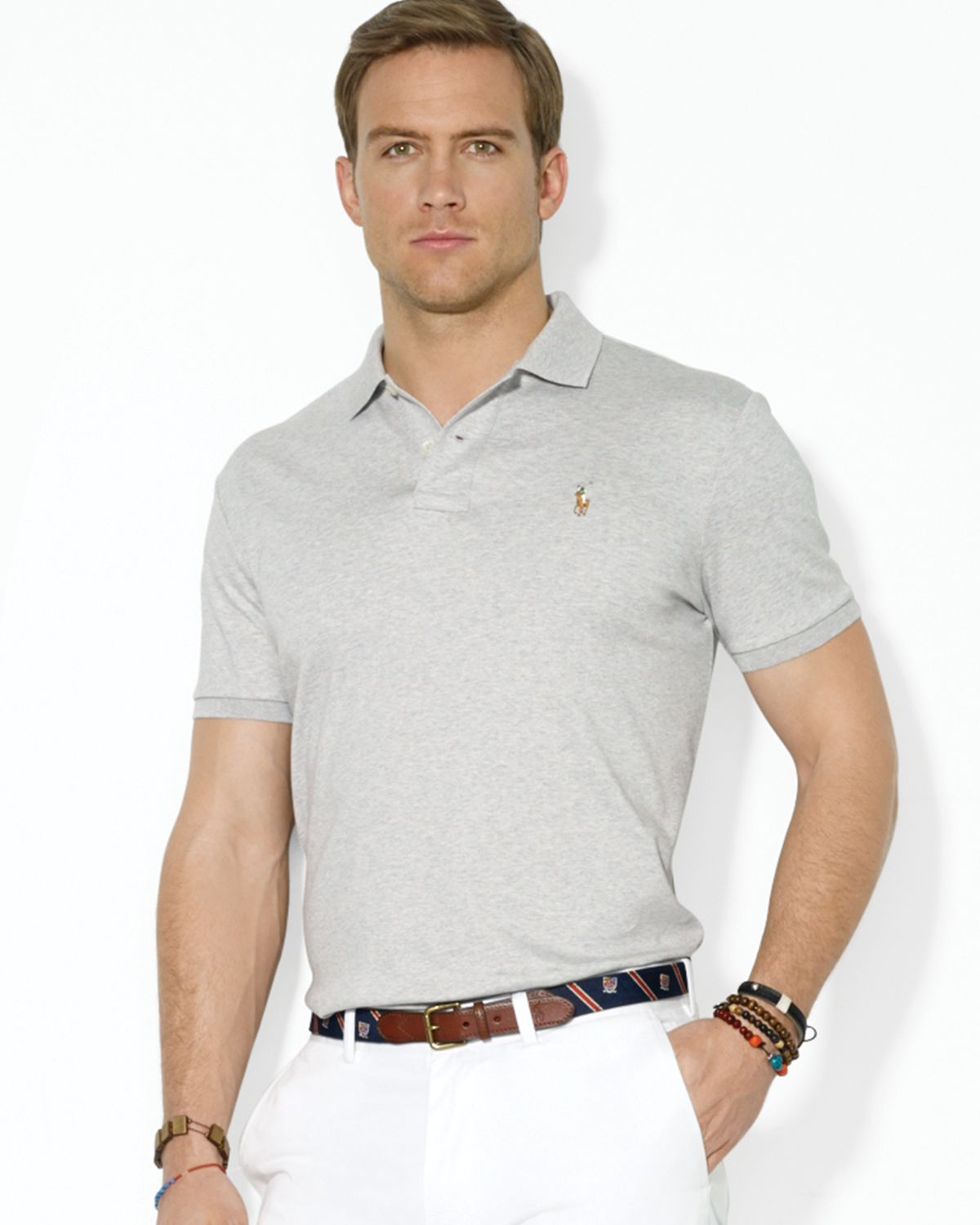 8d2429820f774 Lyst - Ralph Lauren Polo Pima Soft Touch Regular Fit Polo in Gray ...