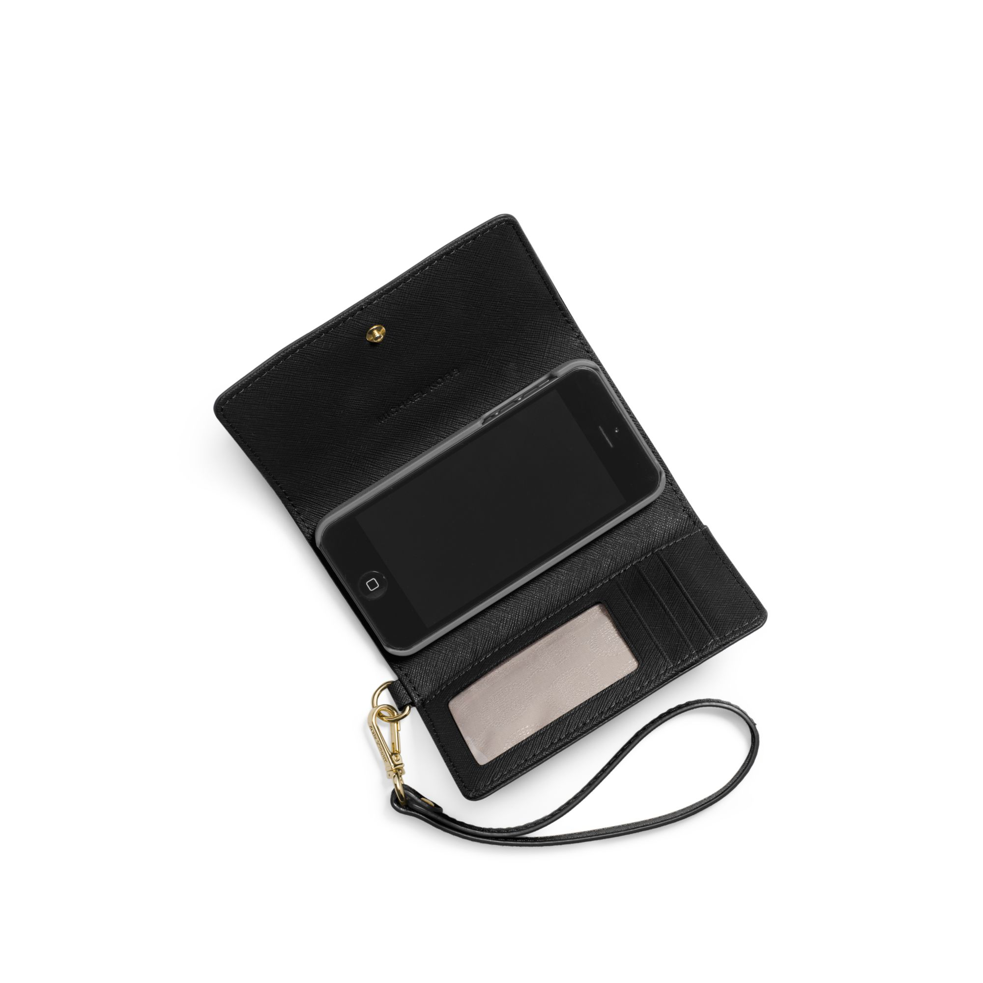 iphone 5 wristlet michael kors saffiano leather smartphone wristlet in black 11067