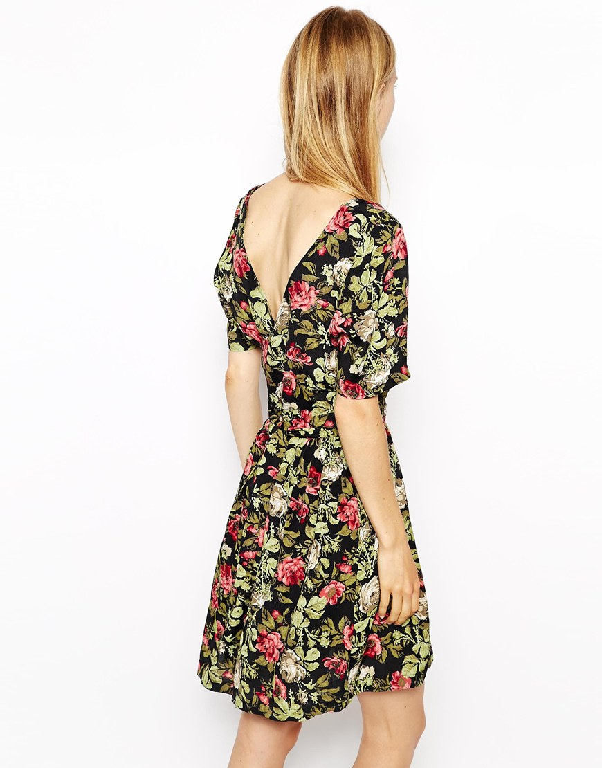 bcaf33ea Ganni Floral Tulip Dress in Green - Lyst
