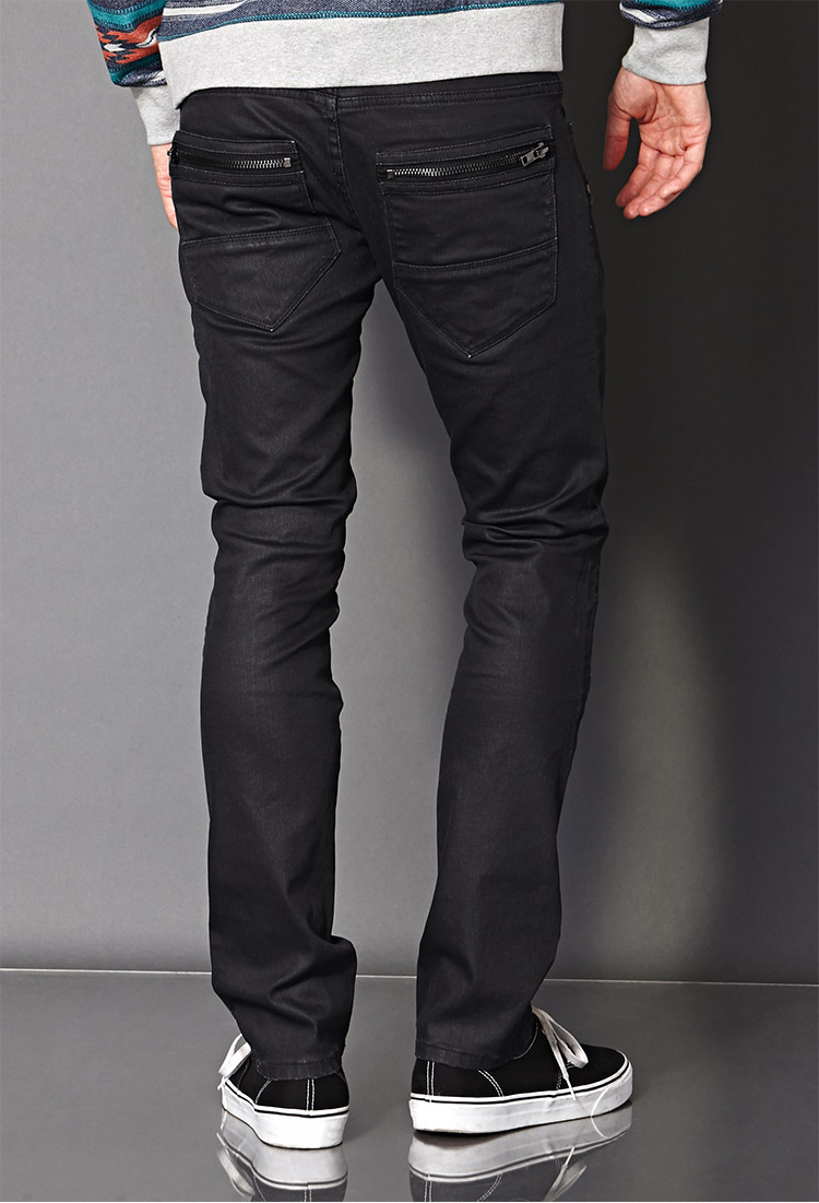 lyst forever 21 clean wash skinny biker jeans in black for men