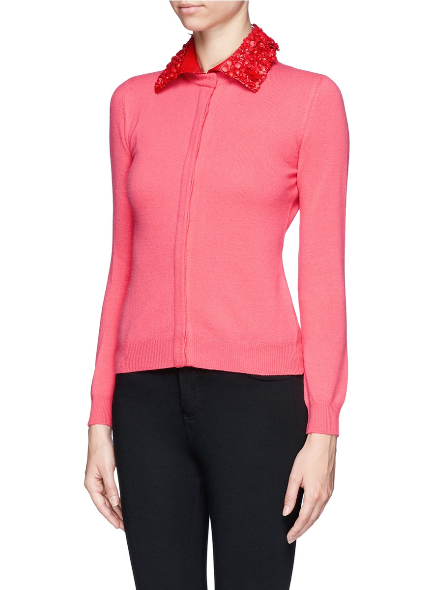 Valentino Floral Leather Collar Wool-cashmere Cardigan in Pink | Lyst