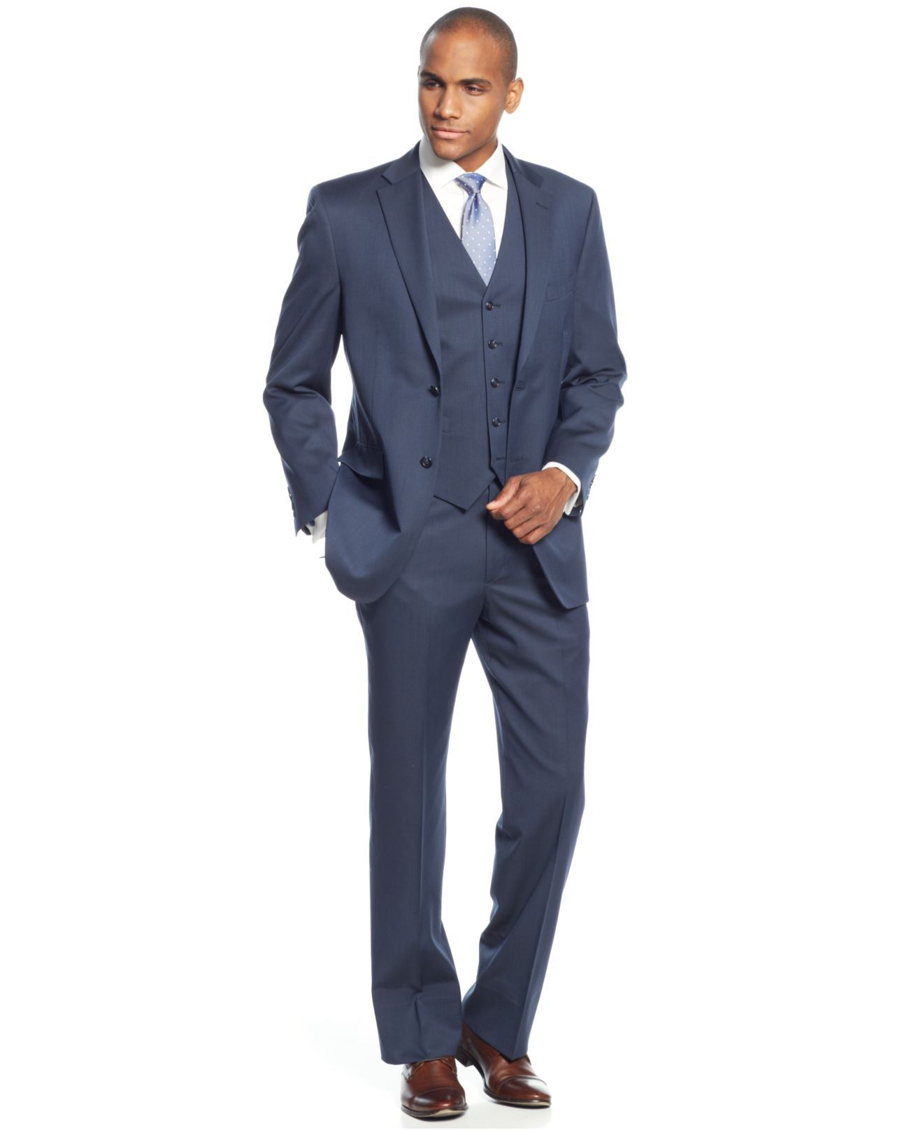 Jones new york Blue Solid Vested Classic-fit Suit in Blue for Men
