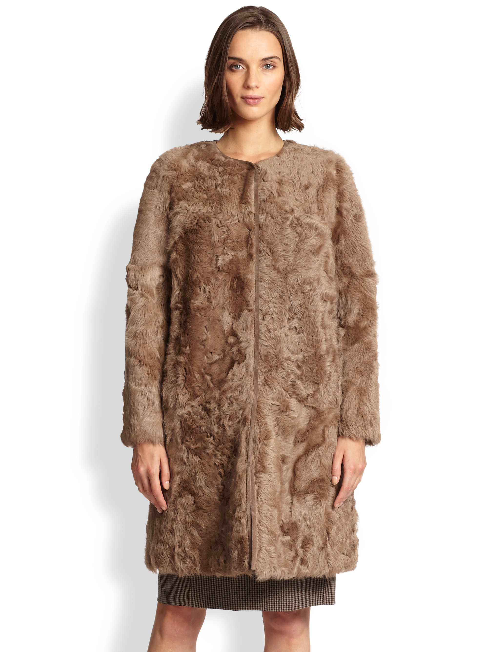weekend by maxmara shearling coat in brown camel lyst. Black Bedroom Furniture Sets. Home Design Ideas
