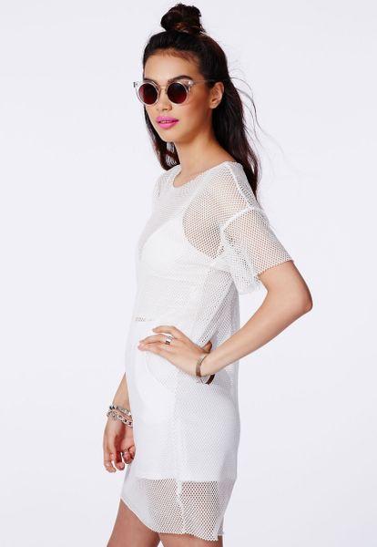 White Fishnet Tshirt Dress