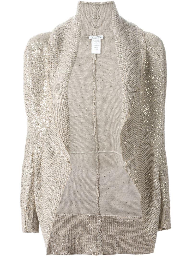 Oscar de la renta Sequin Embellished Shawl Cardigan in Natural | Lyst