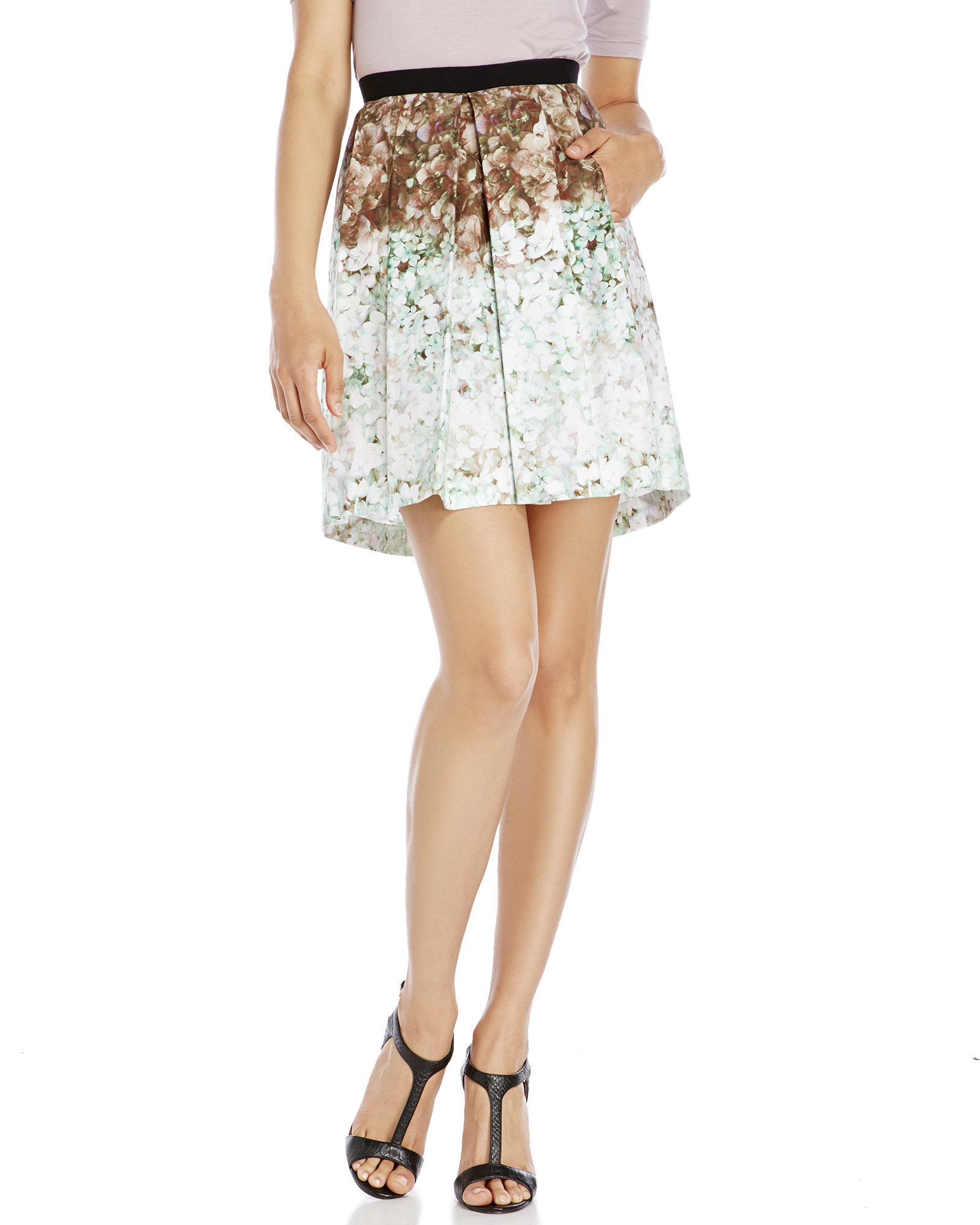 les copains pleated floral skirt in white lyst