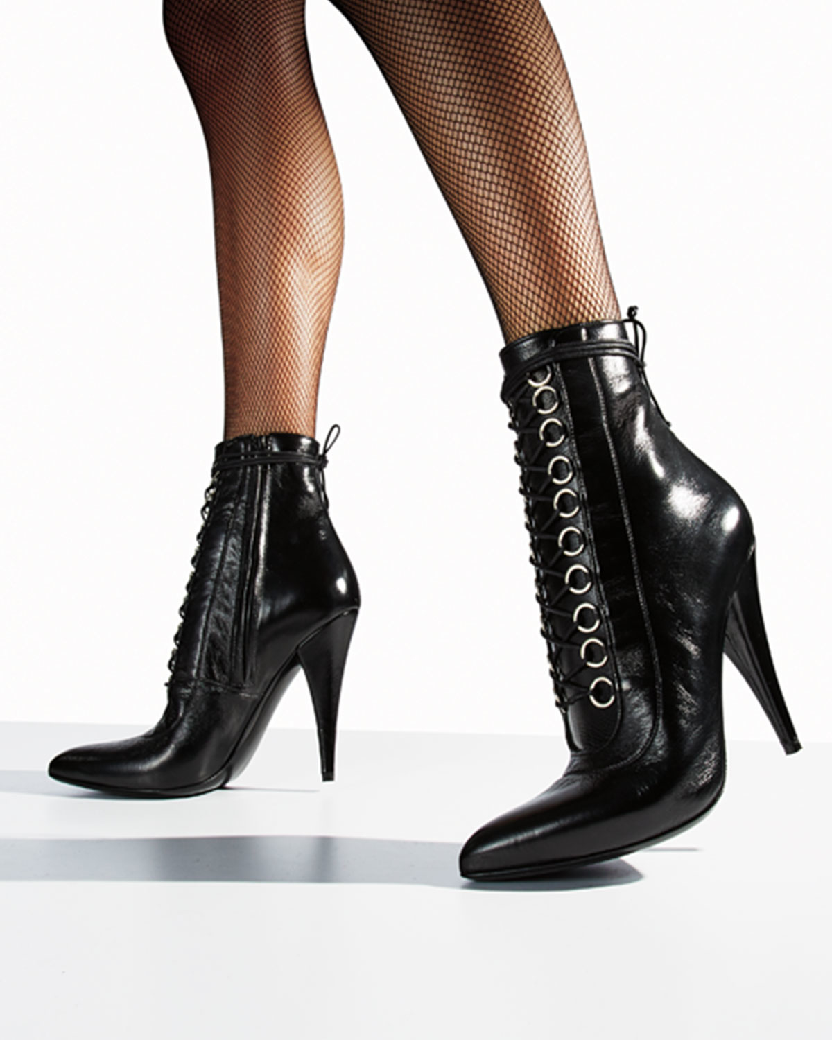Lyst - Saint Laurent Fetish Leather Lace-up Bootie in Black af3a4e1e2254b