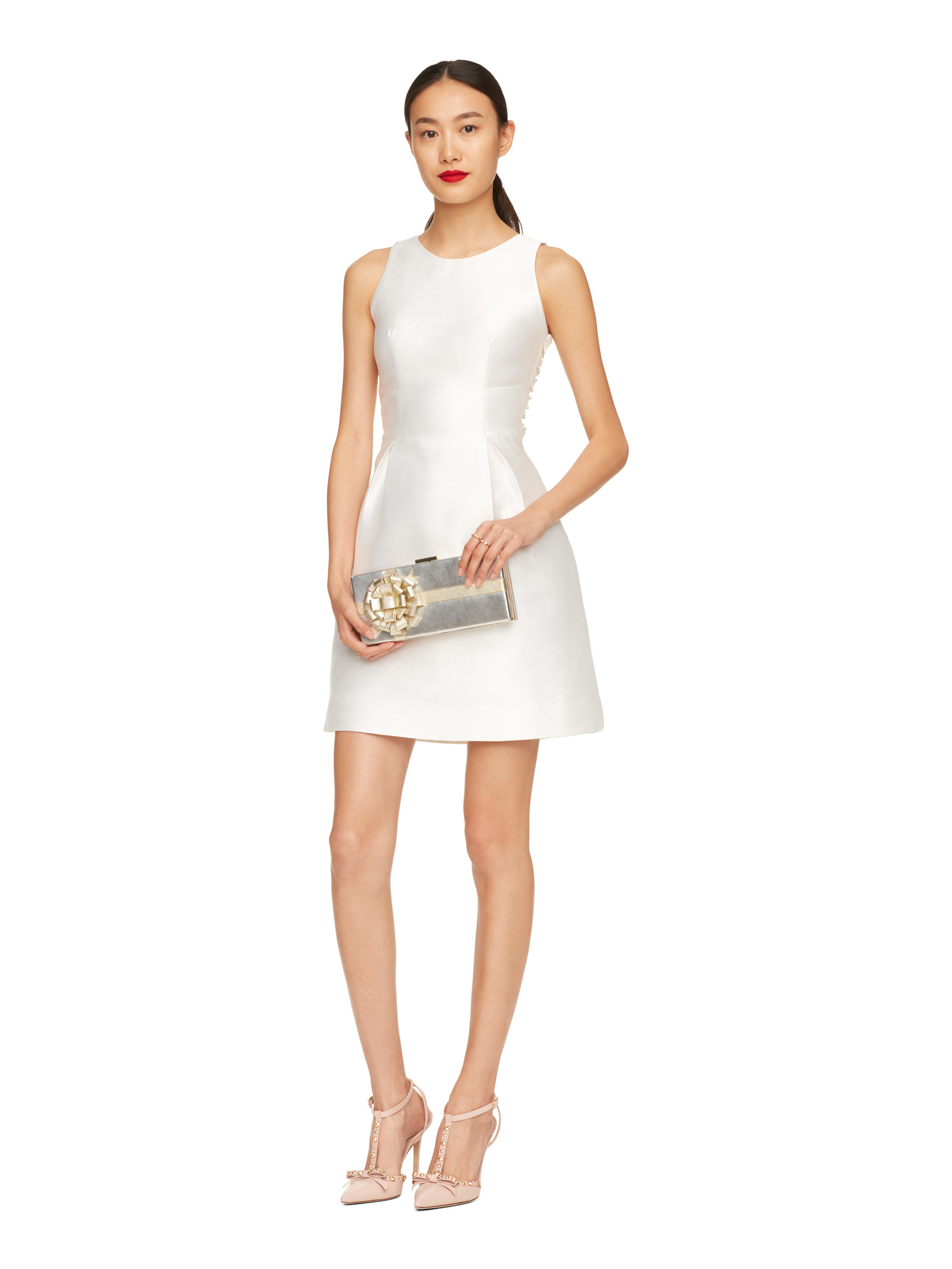 Kate Spade New York Embellished Bow Back Dress In White Lyst