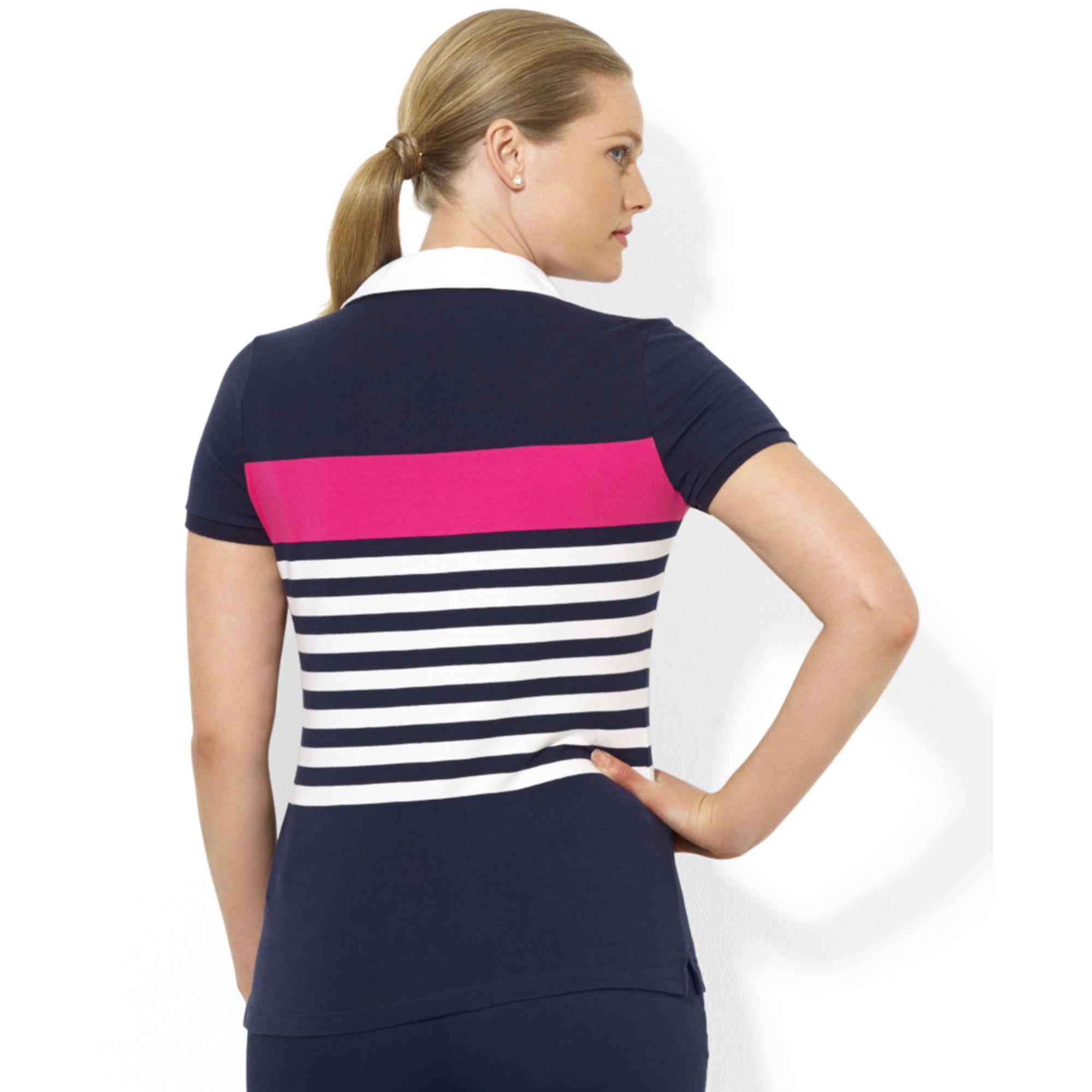 4185f9b3dc8 Lyst - Lauren By Ralph Lauren Plus Size Shortsleeve Striped Polo ...