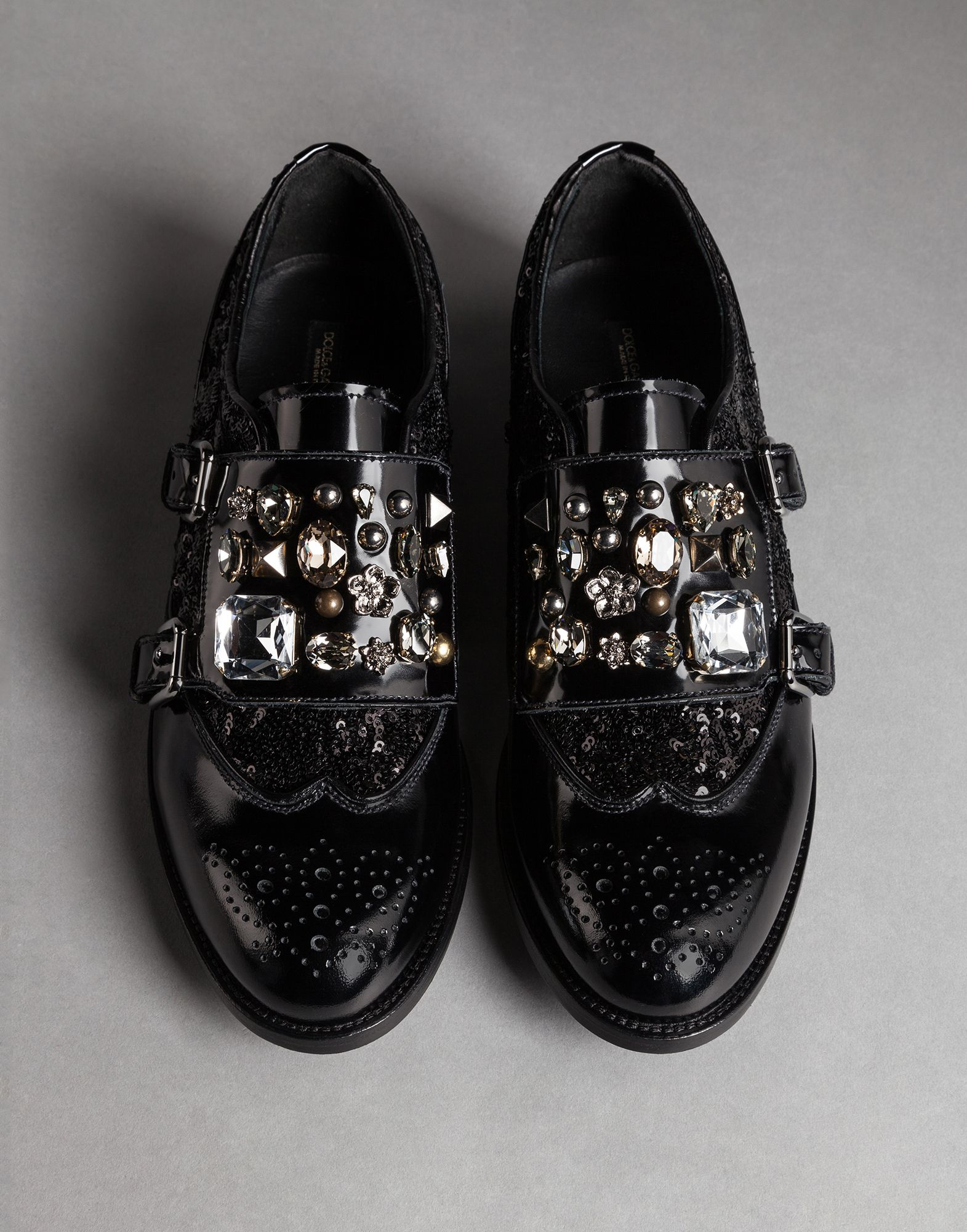 e438419f127e40 Lyst - Dolce   Gabbana Shiny Calfskin Derby Shoes With Sequins And ...
