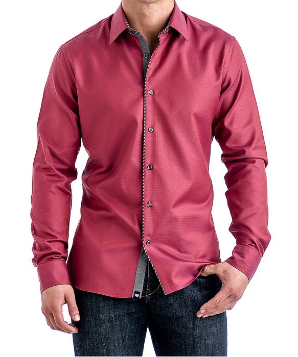 Stone Rose Dark Coral Textured Sport Shirt In Pink For Men
