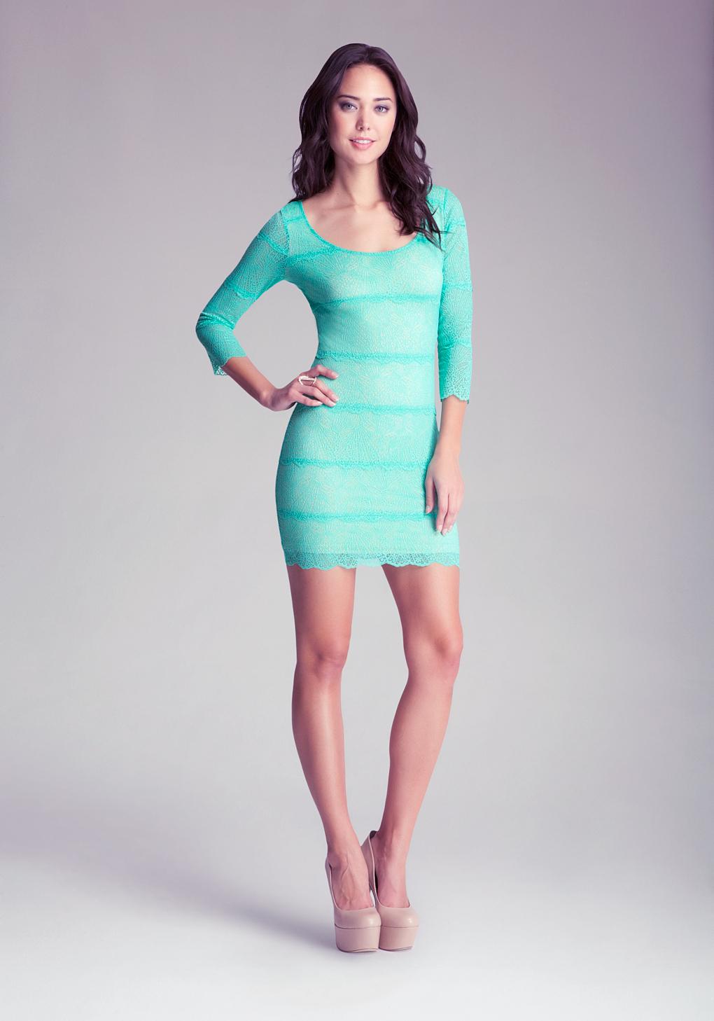 Lyst - Bebe Carolina Lace Dress in Green