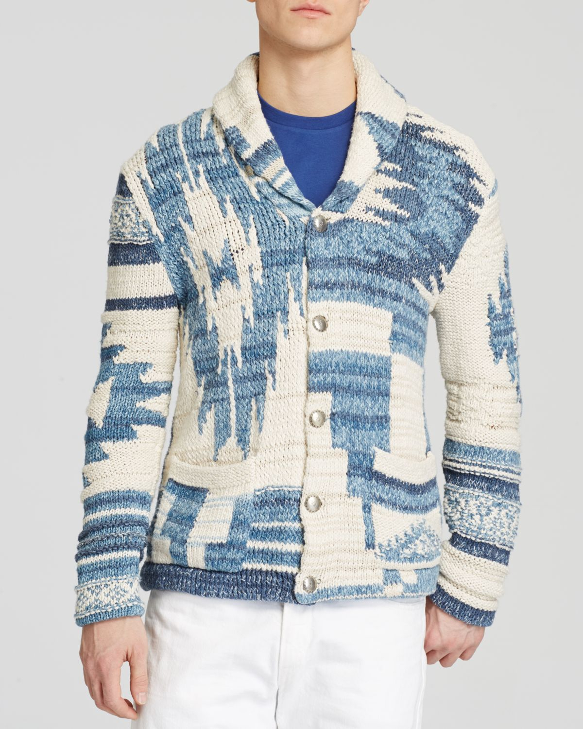 63850f54e inexpensive lyst ralph lauren polo southwestern shawl cardigan in blue for  men 719a0 08847