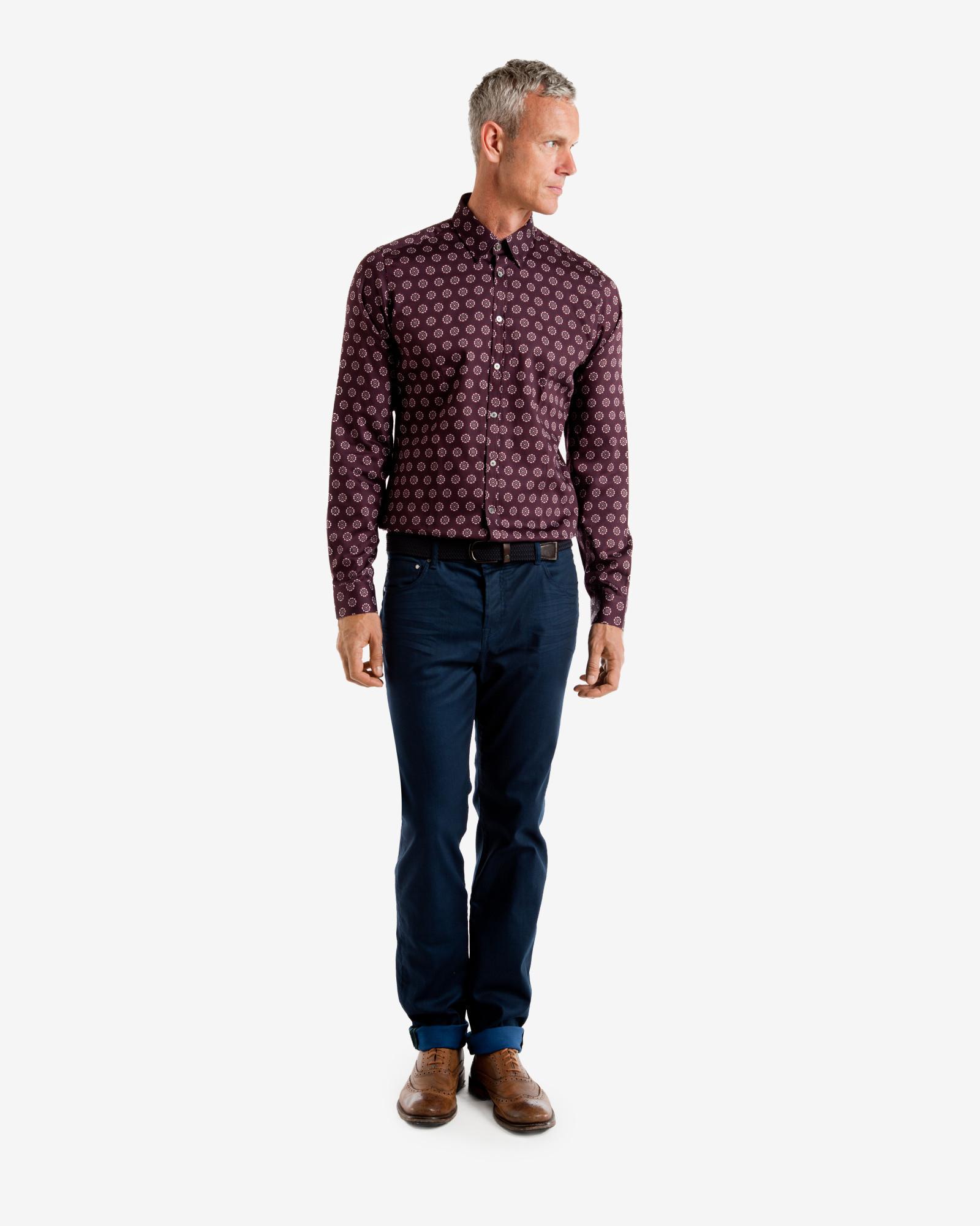 Ted baker floral print shirt in purple for men dark red for Ted baker floral print shirt
