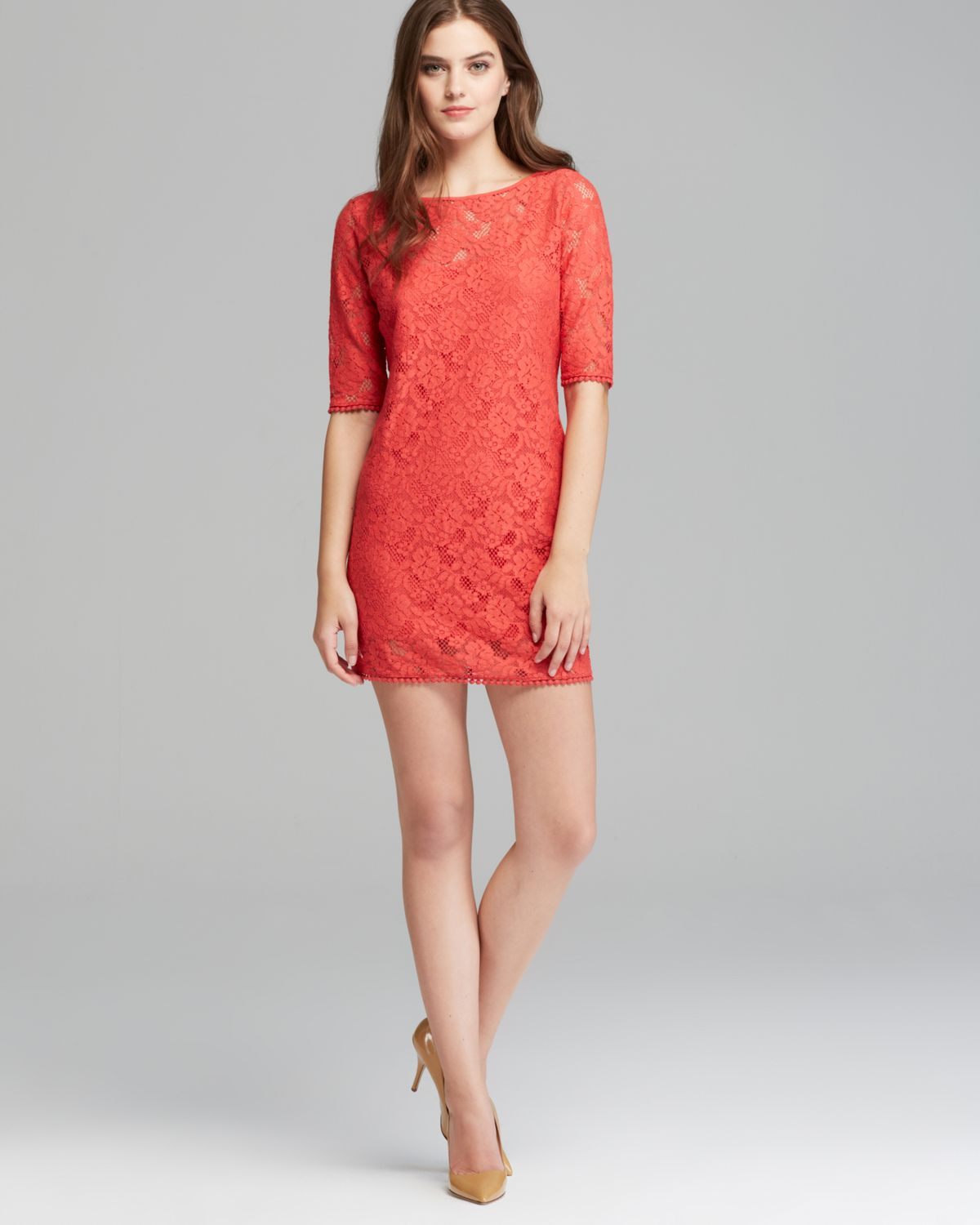 Three dots Three Quarter Sleeve Tunic Dress in Red | Lyst