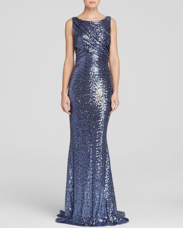 Lyst - Badgley Mischka Gown - Sleeveless Sequin Drape Top in Blue