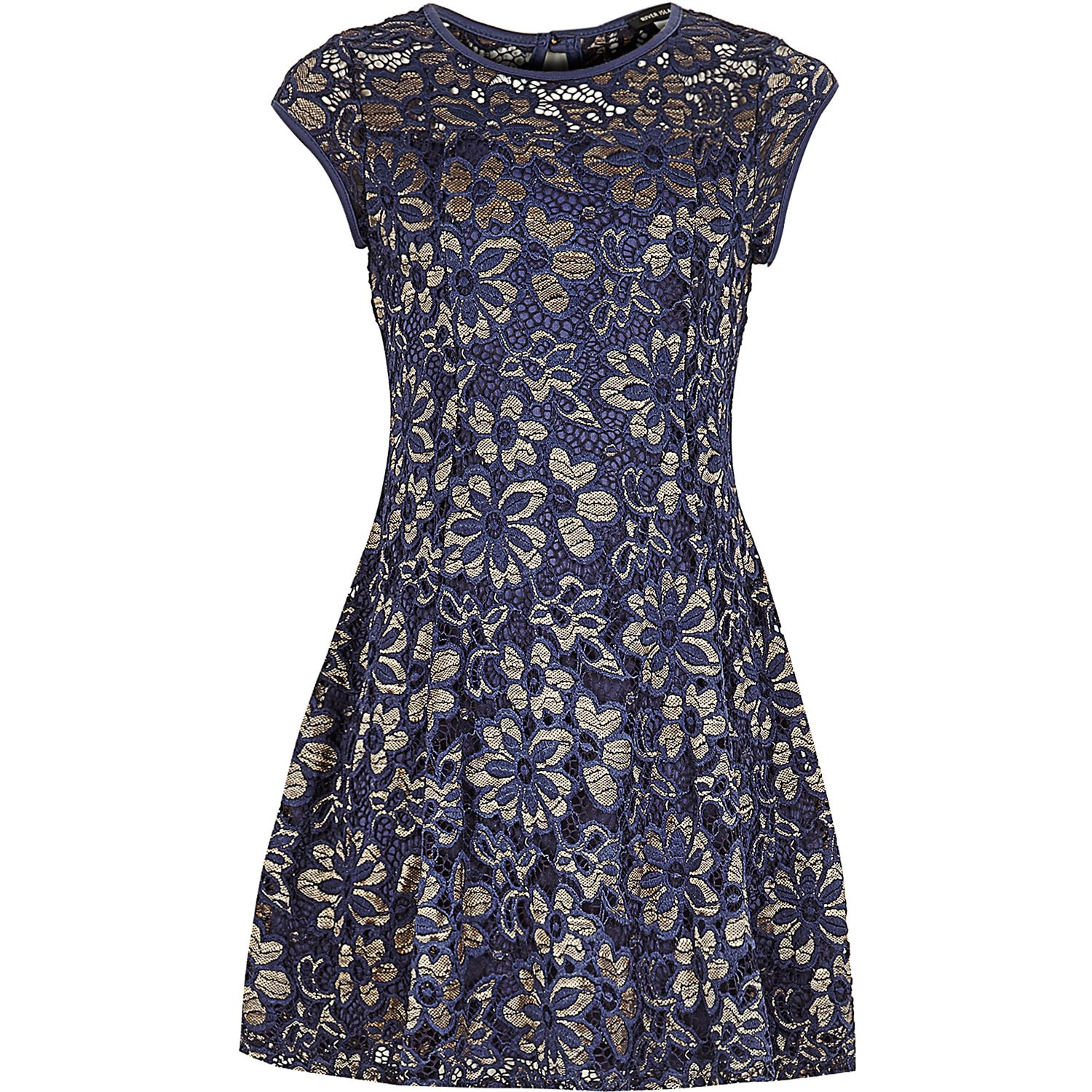 River Island Girls Navy Lace Skater Dress in Blue - Lyst