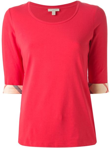 Burberry Brit Three Quarter Length T Shirt In Pink Pink