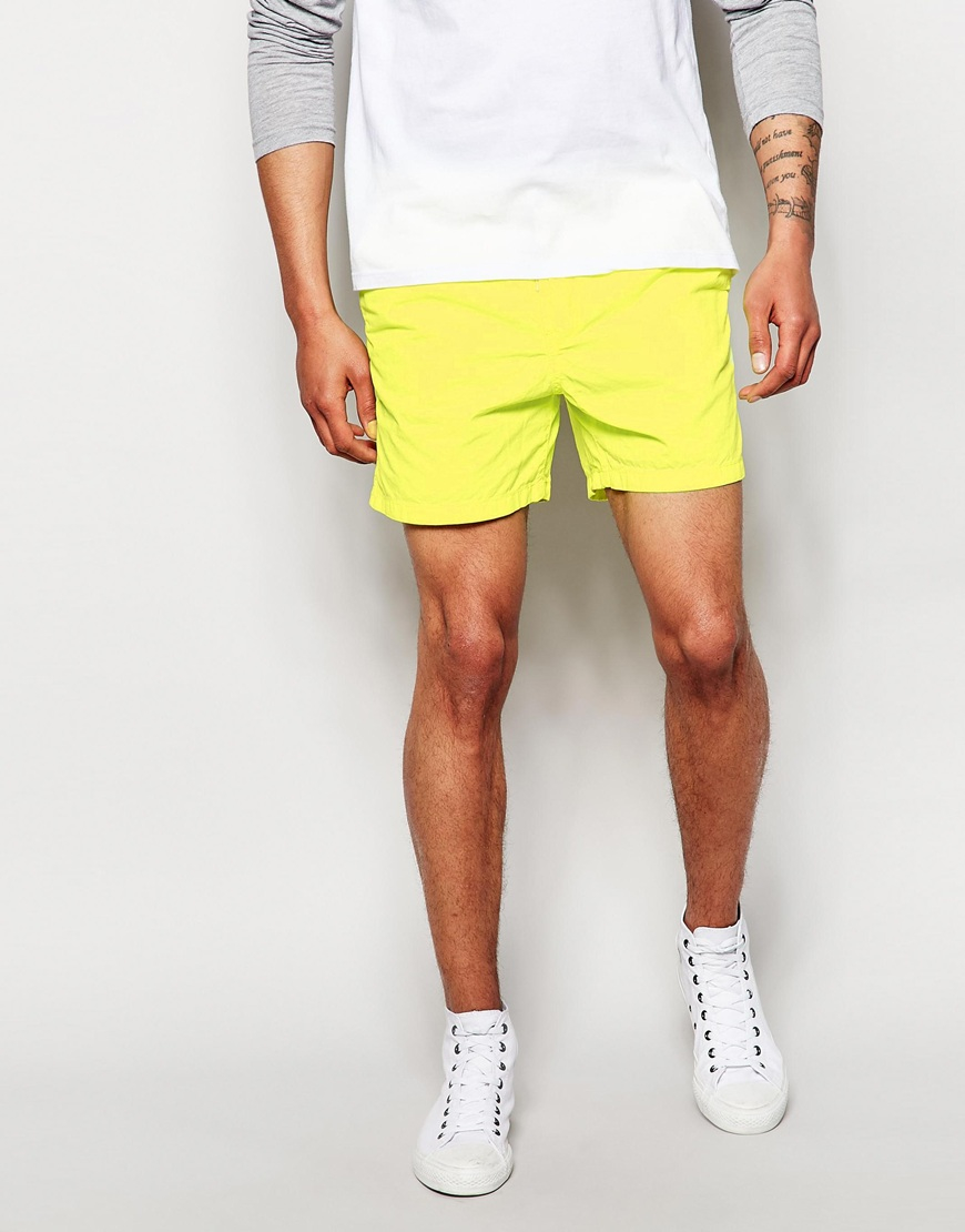 Esprit Washed Neon Chino Short Shorts in Yellow for Men | Lyst