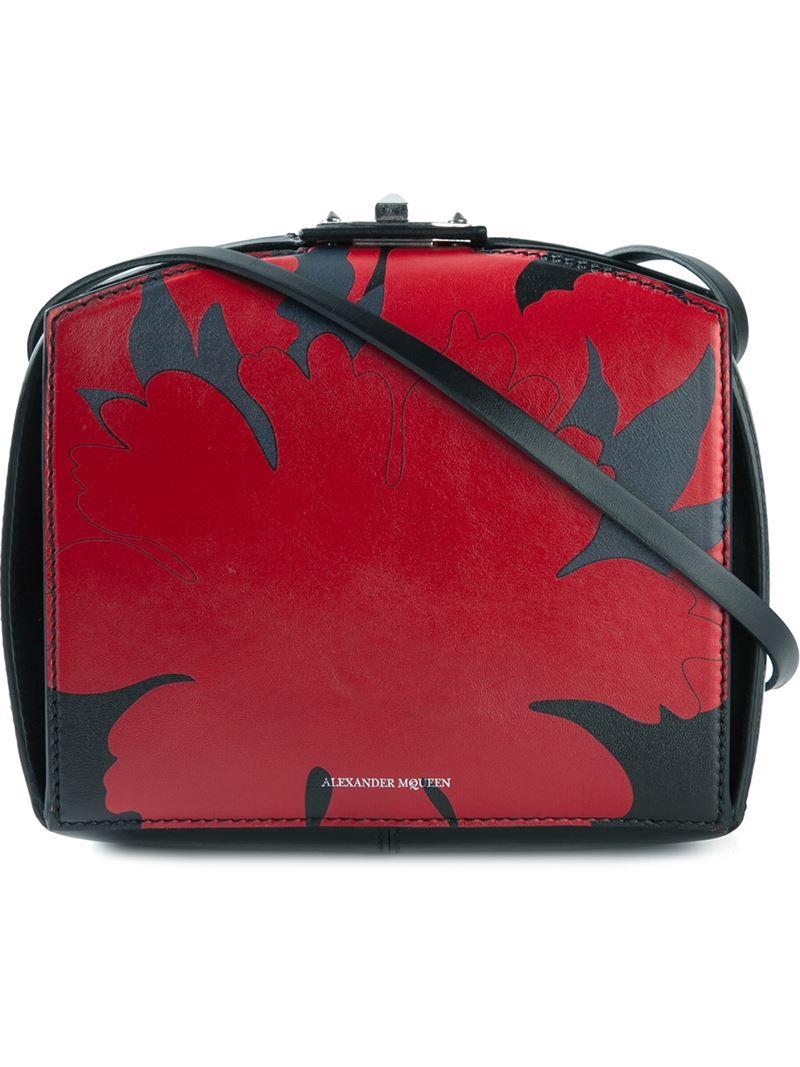 Lyst Alexander Mcqueen Legend Lotus Flower Box Shoulder Bag In Red