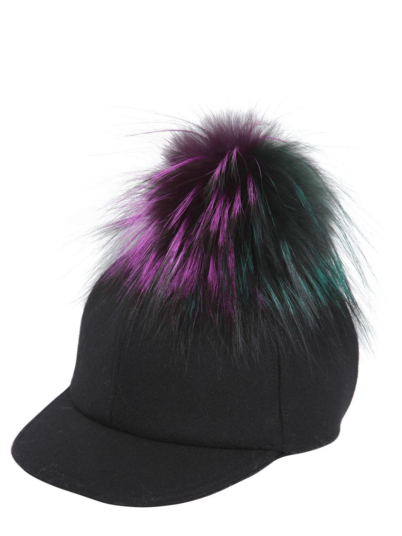 c7c2cf3bb5 Fendi Wool Felt Baseball Hat With Fur Pompom in Black - Lyst