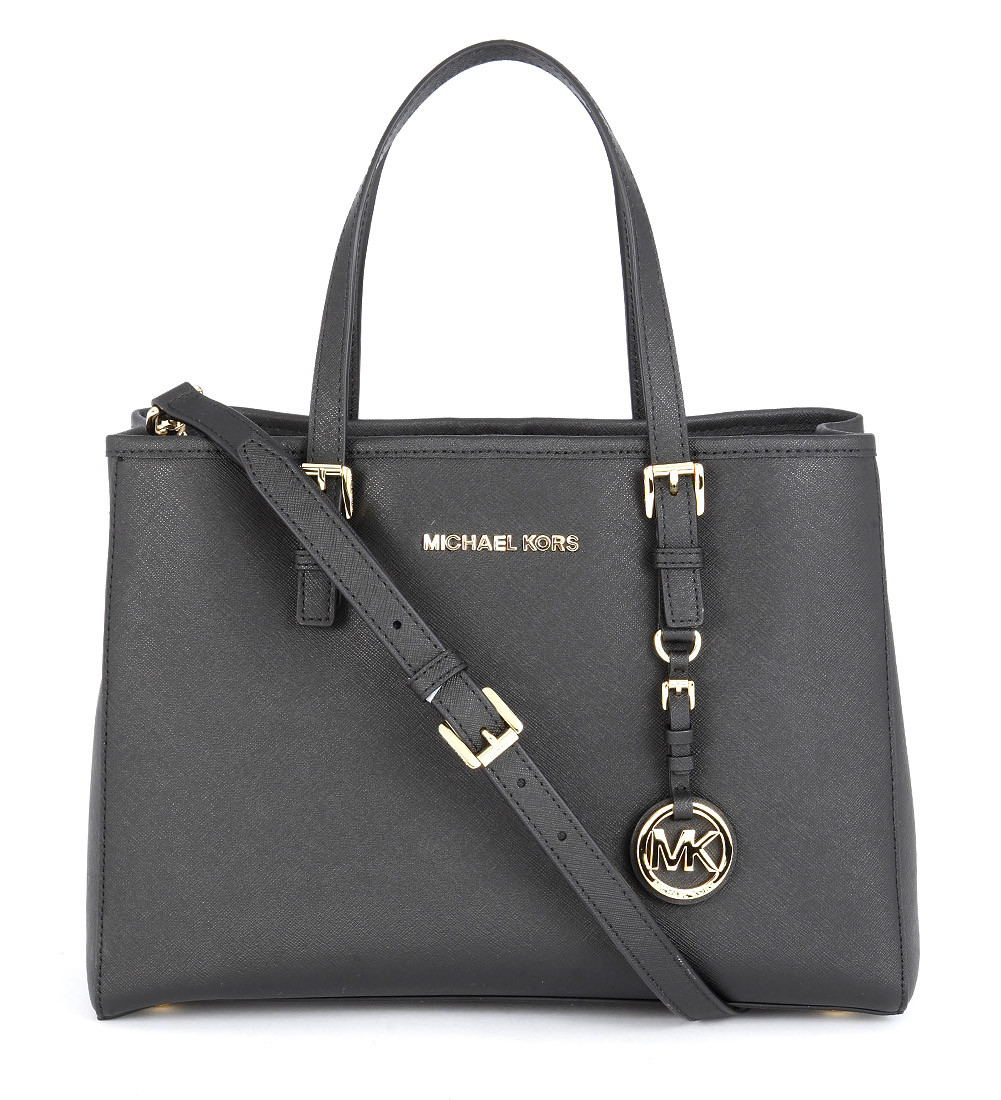 Michael kors Jet Set Travel Handbag In Black Saffiano ...