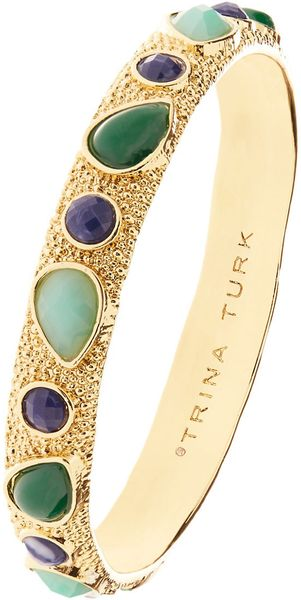 Trina Turk Gemstone Bangle in Green (BLUE) - Lyst