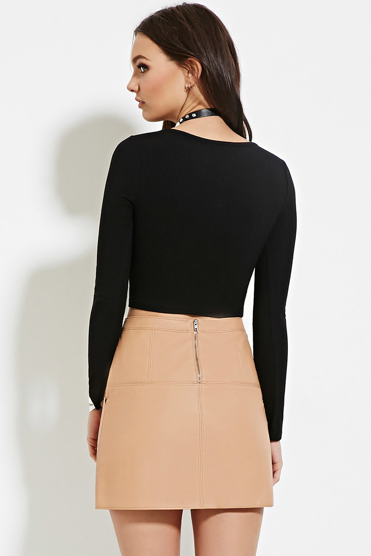 21 Best Grow Your Tarot Business Online Images On: Forever 21 Ribbed Button-front Crop Top In Black