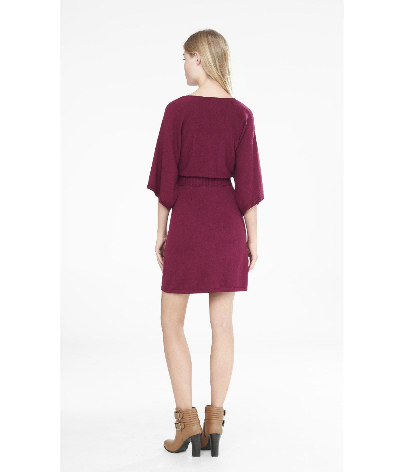 Express Berry Kimono Sleeve V-neck Sweater Dress in Purple | Lyst