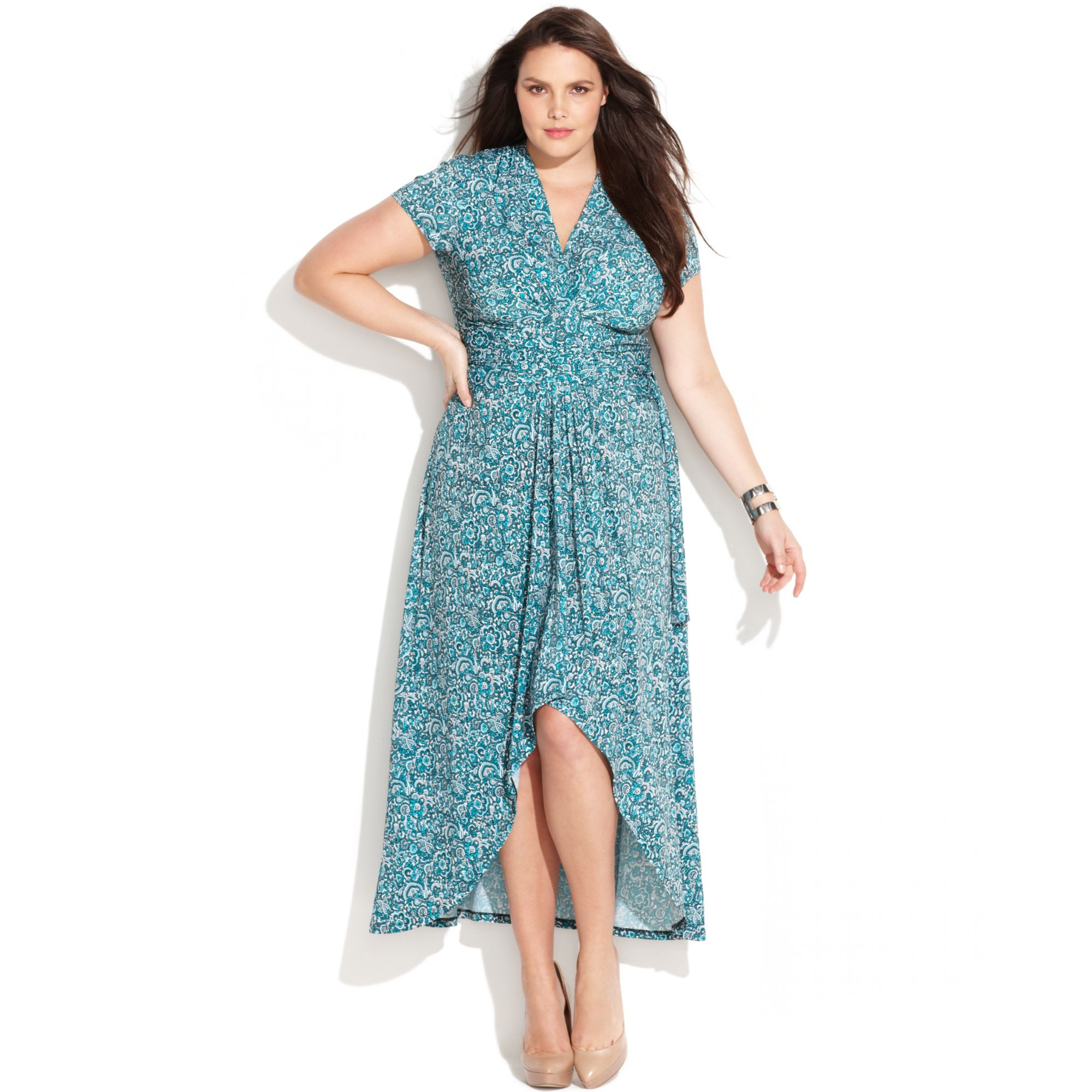 Lyst Michael Kors Plus Size Printed Faux Wrap Maxi Dress In Blue