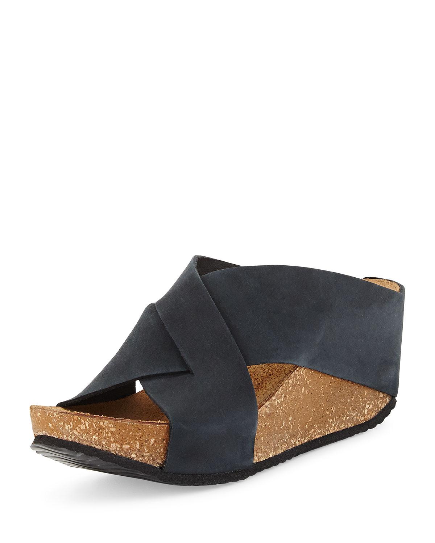 Neiman marcus Margery Nubuck Crisscross Slide Sandal in ...