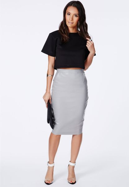 missguided mariota grey faux leather pencil skirt in gray